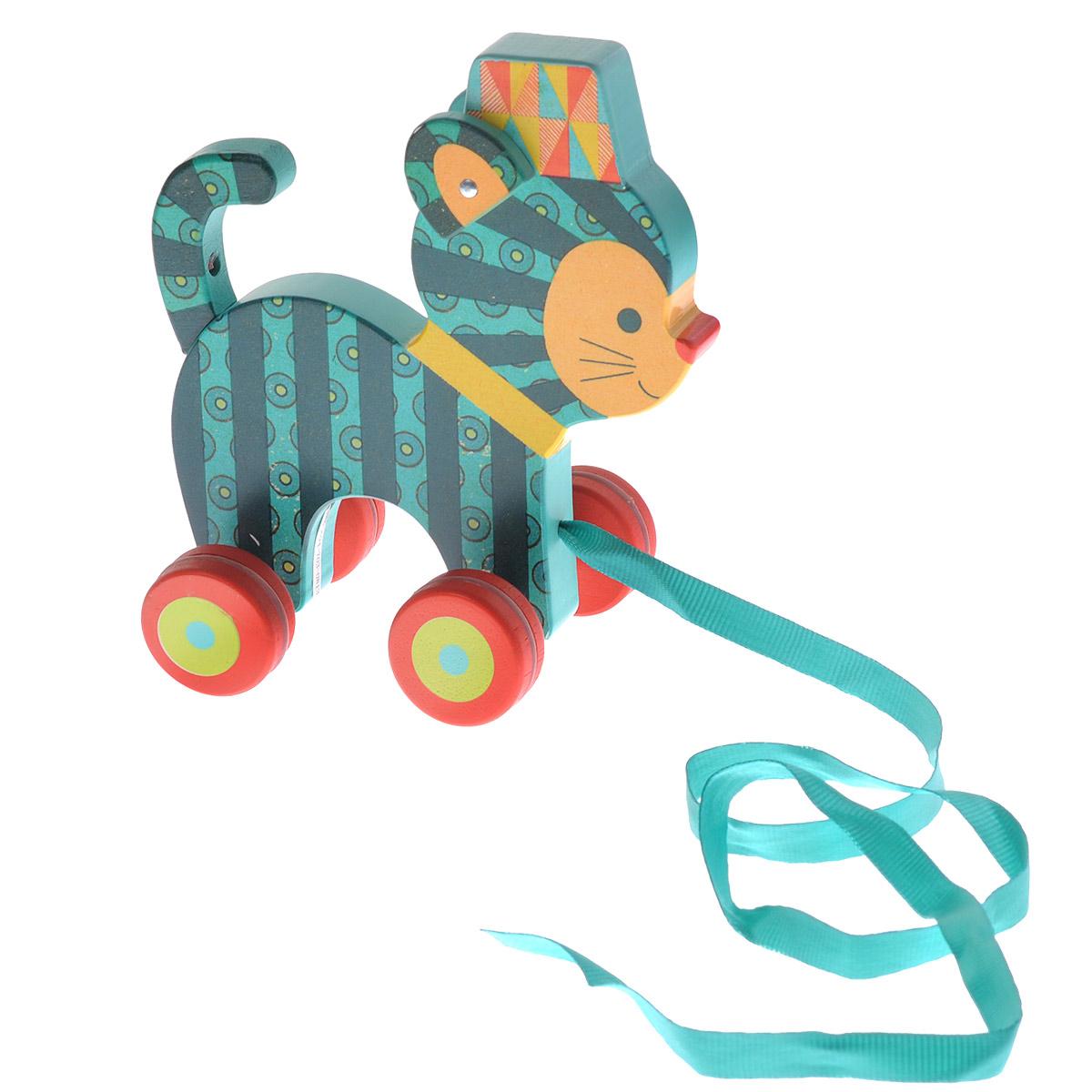 Djeco Деревянная игрушка-каталка Кот Ину06233Деревянная игрушка-каталка Djeco Кот Ину непременно понравится вашему малышу и подойдет для игры как дома, так и на свежем воздухе. Она выполнена из дерева с использованием нетоксичных красок в виде забавного кота с подвижными ушками. Края игрушки закруглены, чтобы избежать вероятности травмирования. Каталка оснащена четырьмя колесиками. За текстильную ленточку малыш сможет возить игрушку за собой. Яркая игрушка-каталка Djeco Кот Ину развивает пространственное мышление, цветовое восприятие, ловкость, равновесие и координацию движений.