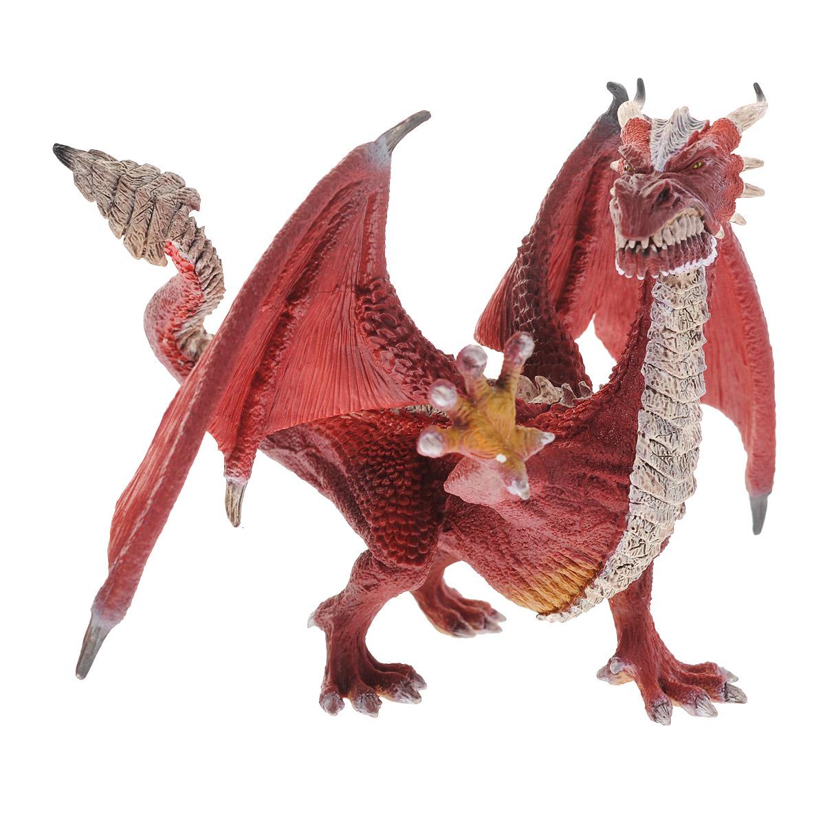 Schleich Фигурка Дракон Воин70512Великолепная фигурка Schleich Дракон Воин станет прекрасным подарком для вашего ребенка. Она высоко детализирована, и выполнена из каучукового пластика в виде дракона с гребнем из шипов. Фигурка дракона выполнена в красных цветах. Пасть дракона открывается. У него острые когти и зубы, а также большие широкие крылья. Мощные и сильные лапы позволяют дракону легко перемещаться и отталкиваться от земли. Такая фигурка непременно понравится вашему ребенку, а также привлечет внимание взрослых коллекционеров, и станет замечательным украшением любой коллекции. Восхитительная фигурка сделает игры с рыцарями и воинами еще увлекательнее! У Дракона Воина самый горячий и сильный огонь. Благодаря ему, он очень быстро разрушает здания и целые города.