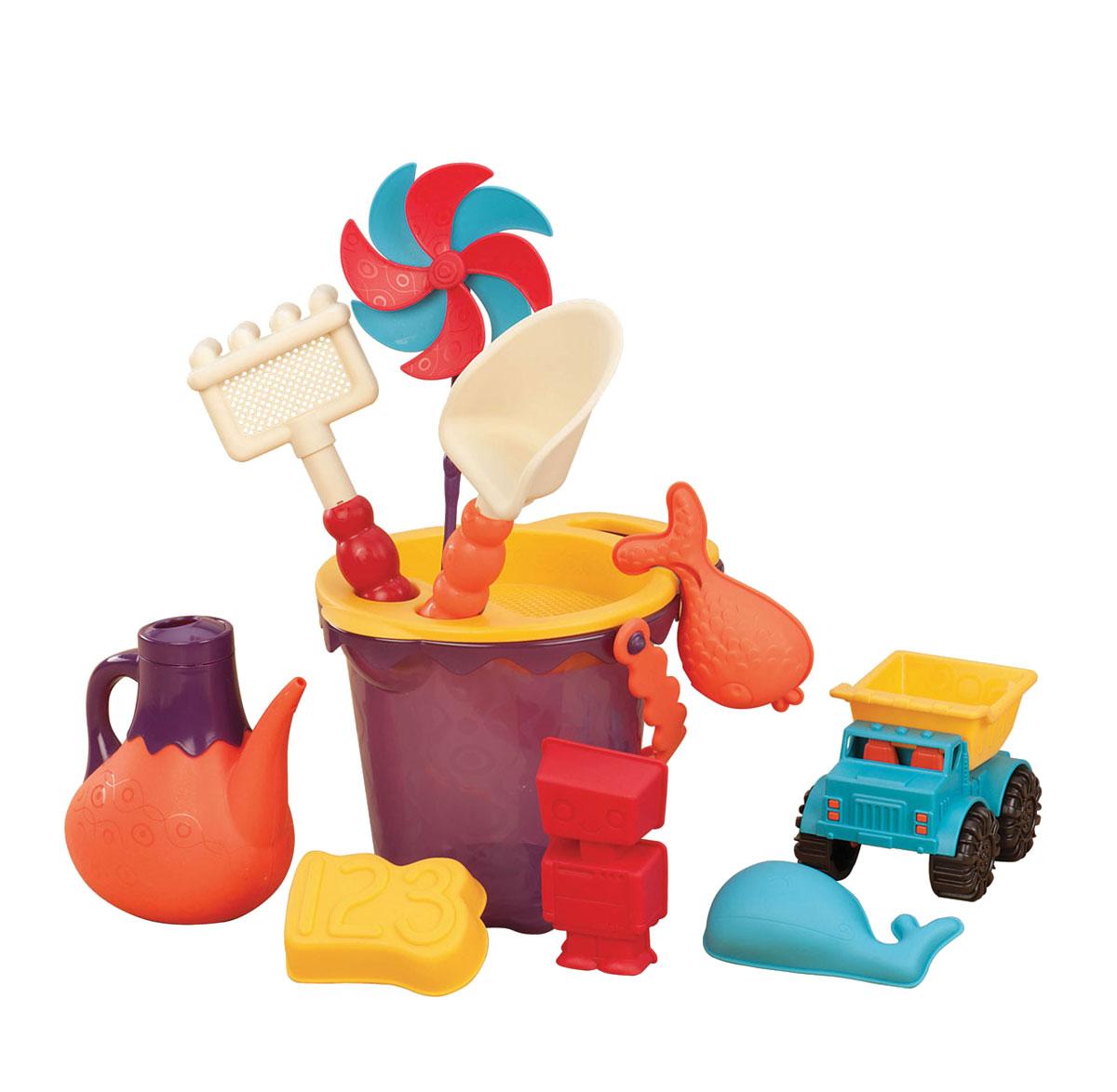Набор для песочницы Battat Ready Beach Bag, с машинкой, 11 предметов68704Набор для песочницы Battat Ready Beach Bag сделает игры в песке еще более увлекательными и захватывающими. Набор включает в себя 11 предметов: машинку, 4 формочки, лопатку, грабельки, ведерко с забавной ручкой, ситечко, вертушку и лейку. Все элементы набора изготовлены из высококачественного безопасного пластика и имеют яркие приятные цвета. Машинка выполнена в виде самосвала с просторным откидывающимся кузовом, в котором можно перевозить важнейший элемент стройки - песок. Колесики машинки вращаются. Формочки выполнены в виде башен, с их помощью малыш слепит потрясающий песочный замок. Грабельки имеют отверстия, сквозь которые можно просеивать песок. Элементы набора упакованы в прозрачную пластиковую сумку на застежки-молнии с сетчатым дном. Игры в песке способствуют развитию мелкой моторики ребенка, координации движений, тактильного и цветового восприятия, а также воображения и творческого мышления. А с набором для песочницы Battat Ready Beach Bag играть...