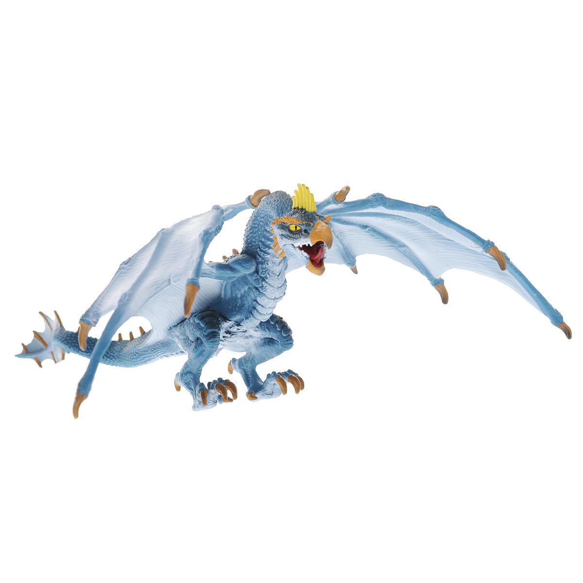 Schleich Фигурка Дракон Летун70508Великолепная фигурка Schleich Дракон Летун станет прекрасным подарком для вашего ребенка. Она высоко детализирована, и выполнена из каучукового пластика в виде дракона с расправленными крыльями. Фигурка дракона выполнена в сером и голубом цветах. У него острые когти и зубы, а также большие широкие крылья и могучий хвост. Голова дракона похожа на птичью и имеет клюв. Мощные и сильные лапы позволяют дракону легко перемещаться и отталкиваться от земли. Такая фигурка непременно понравится вашему ребенку, а также привлечет внимание взрослых коллекционеров, и станет замечательным украшением любой коллекции. Восхитительная фигурка сделает игры с рыцарями и воинами еще увлекательнее! Летающий дракон - опасный и ловкий дракон. Ни один дракон не может летать так высоко и быстро, как Голубой дракон.