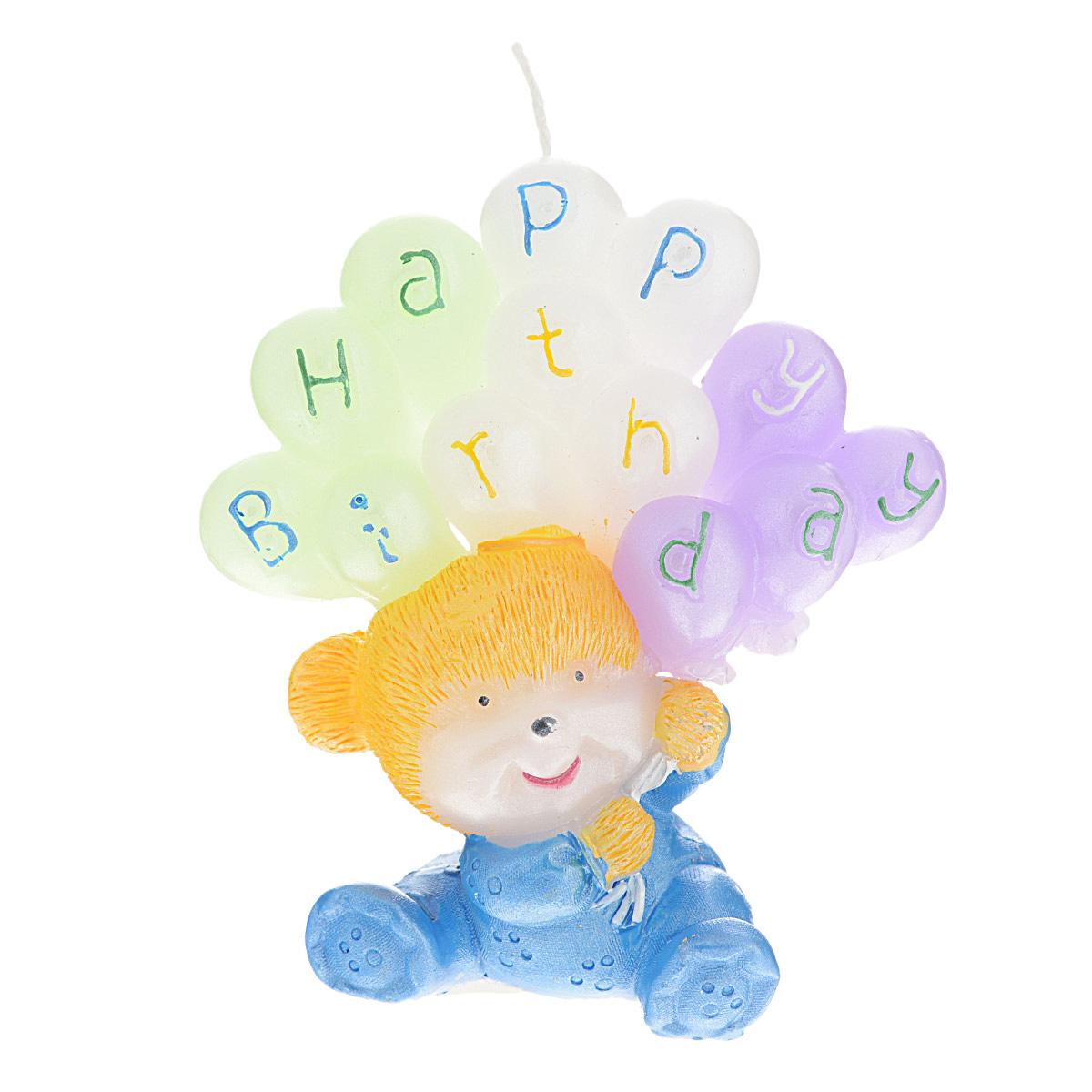 Свеча декоративная Win Max С днем рождения, цвет: голубой, 6 см х 6 см х 8 см. 9445994459Декоративная свеча Win Max С днем рождения изготовлена из парафина в форме мишки с шариками. Свеча упакована в прозрачную пластиковую коробку и украшена бантиком. Декоративная свеча Win Max С днем рождения может стать отличным подарком на день рождение.