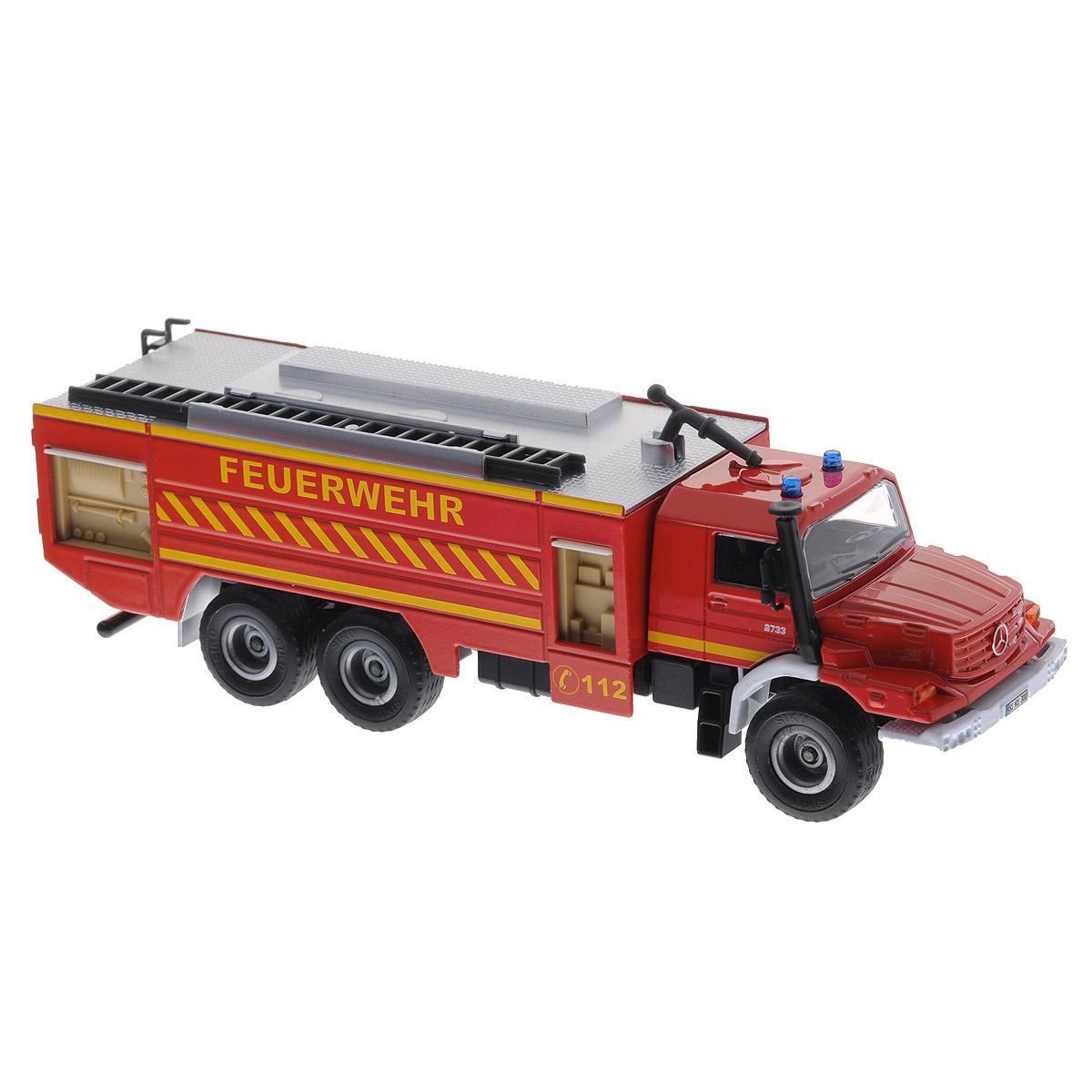 Siku Пожарная машина Mercedes-Benz Zetros2109Коллекционная модель Siku Пожарная машина Mercedes Zetros выполнена в виде точной копии пожарной машины в масштабе 1/50. Такая модель понравится не только ребенку, но и взрослому коллекционеру и приятно удивит вас высочайшим качеством исполнения. Корпус модели выполнен из металла, стекла кабины водителя изготовлены из прочного прозрачного пластика, колесики - из резины. Машина оформлена проблесковыми маяками из полупрозрачного пластика. Колесики модели вращаются. Водомет на крыше машины вращается, лестница съемная. Дверцы на боковых сторонах кузова поднимаются. Коллекционная модель отличается великолепным качеством исполнения и детальной проработкой, она станет не только интересной игрушкой для ребенка, интересующегося автотехникой, но и займет достойное место в любой коллекции.