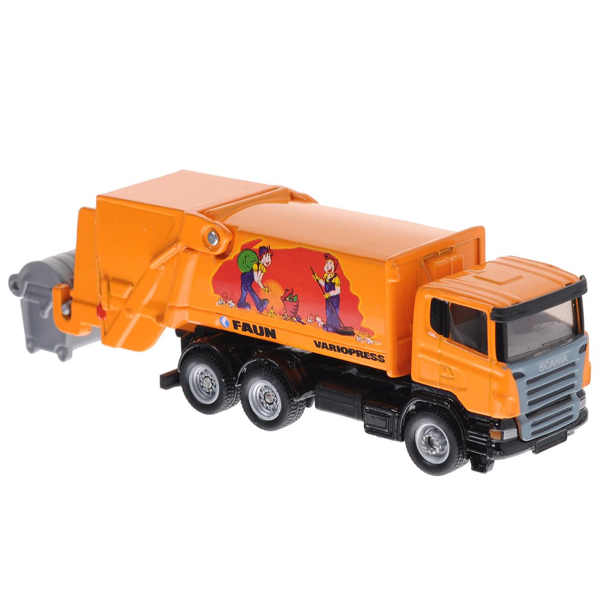 Siku Мусоровоз Scania-R Faun1890Коллекционная модель Siku Мусоровоз выполнена в виде точной копии мусоровоза в масштабе 1/87. Такая модель понравится не только ребенку, но и взрослому коллекционеру и приятно удивит вас высочайшим качеством исполнения. Корпус мусоровоза выполнен из металла, стекла кабины водителя выполнены из прочного пластика, колесики - из резины. Колесики модели вращаются. Мусоросборник и кузов кабины подвижны, поднимаются и опускаются. В комплект входит мусорный бак с откидывающейся крышкой. Коллекционная модель отличается великолепным качеством исполнения и детальной проработкой, она станет не только интересной игрушкой для ребенка, интересующегося автотехникой, но и займет достойное место в любой коллекции.