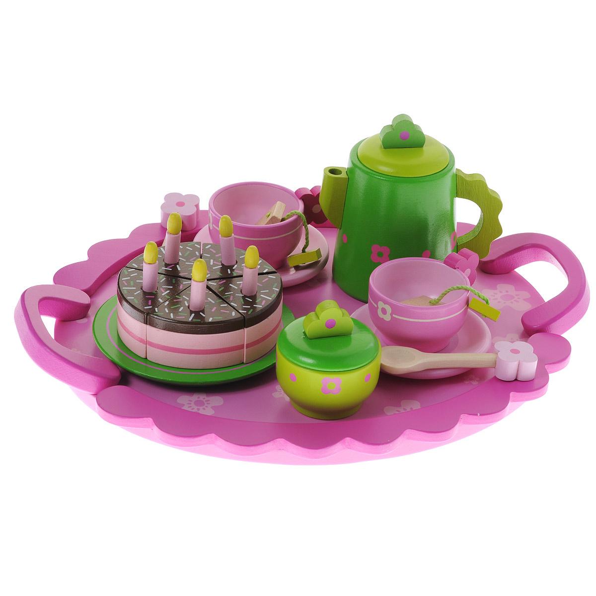 Игровой набор Djeco День рождения06511Игровой набор Djeco День рождения привлечет внимание любой девочки. Набор включает в себя все необходимое для веселого игрового чаепития: чайник, 2 чашки, 2 блюдца, сахарница, 3 пакетика чая, 5 свечек, 5 кусочков торта, тарелка и поднос. Все элементы набора выполнены из дерева и окрашены нетоксичными красками в нежные пастельные цвета. Все предметы в наборе имеют удобные для детских ручек размеры. Крышки на чайничке и сахарнице снимаются. Ваша малышка сможет часами играть с этим замечательным набором, выдумывая различные истории и разыгрывая сказочное чаепитие. Такие игры развивают мелкую моторику, социальные навыки и воображение, а также помогут ребенку познакомиться с различными цветами и формами. Порадуйте свою малышку таким замечательным подарком!