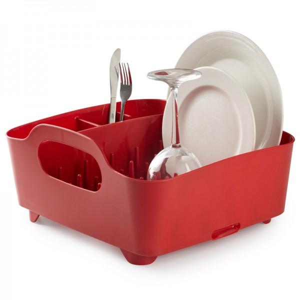 Сушилка для посуды Umbra Tub, цвет: красный, 34,5 см х 37 см х 18 см330590-505Сушилка для посуды Umbra Tub выполнена из полипропилена - высокопрочного нескользящего материала. Компактный дизайн изделия создает огромное пространство для хранения и сушки посуды. Несколько отсеков, которые позволяют уместить приборы, чашки, тарелки, и при этом они все будут на своем месте. В ней даже можно сушить бокалы и стаканы, благодаря специальным шипам, они не будут скользить. Сушилка ставится прямо в раковину. Благодаря ножкам, вода не будет застаиваться под сушилкой. Для удобства переноски изделие имеет удобные ручки.