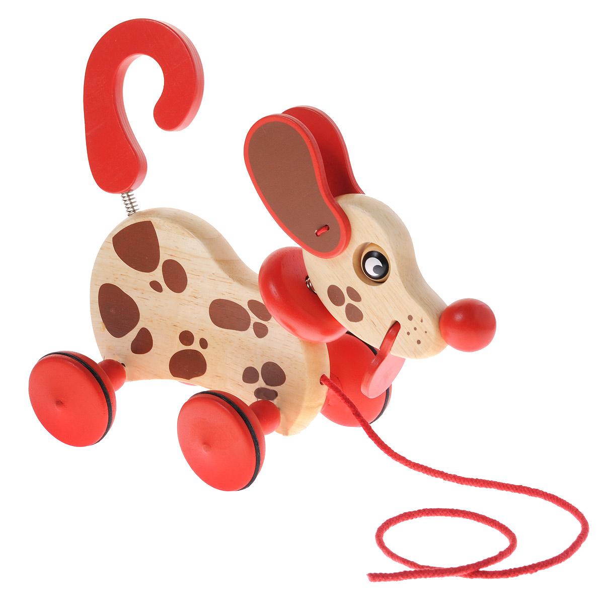 Djeco Деревянная игрушка-каталка Собака Бровни06331Деревянная игрушка-каталка Djeco Собака Бровни непременно понравится вашему малышу и подойдет для игры как дома, так и на свежем воздухе. Она выполнена из дерева с использованием нетоксичных красок в виде забавной собачки с головкой и хвостиком на металлических пружинках. Края игрушки закруглены, чтобы избежать вероятности травмирования. Ушки, глазки и язык собачки подвижны. Каталка оснащена четырьмя колесиками с резиновыми вставками, дающими игрушке дополнительную устойчивость. За текстильный шнурок малыш сможет возить собачку за собой. Игрушка-каталка Djeco Собака Бровни развивает пространственное мышление, цветовое восприятие, ловкость, равновесие и координацию движений.