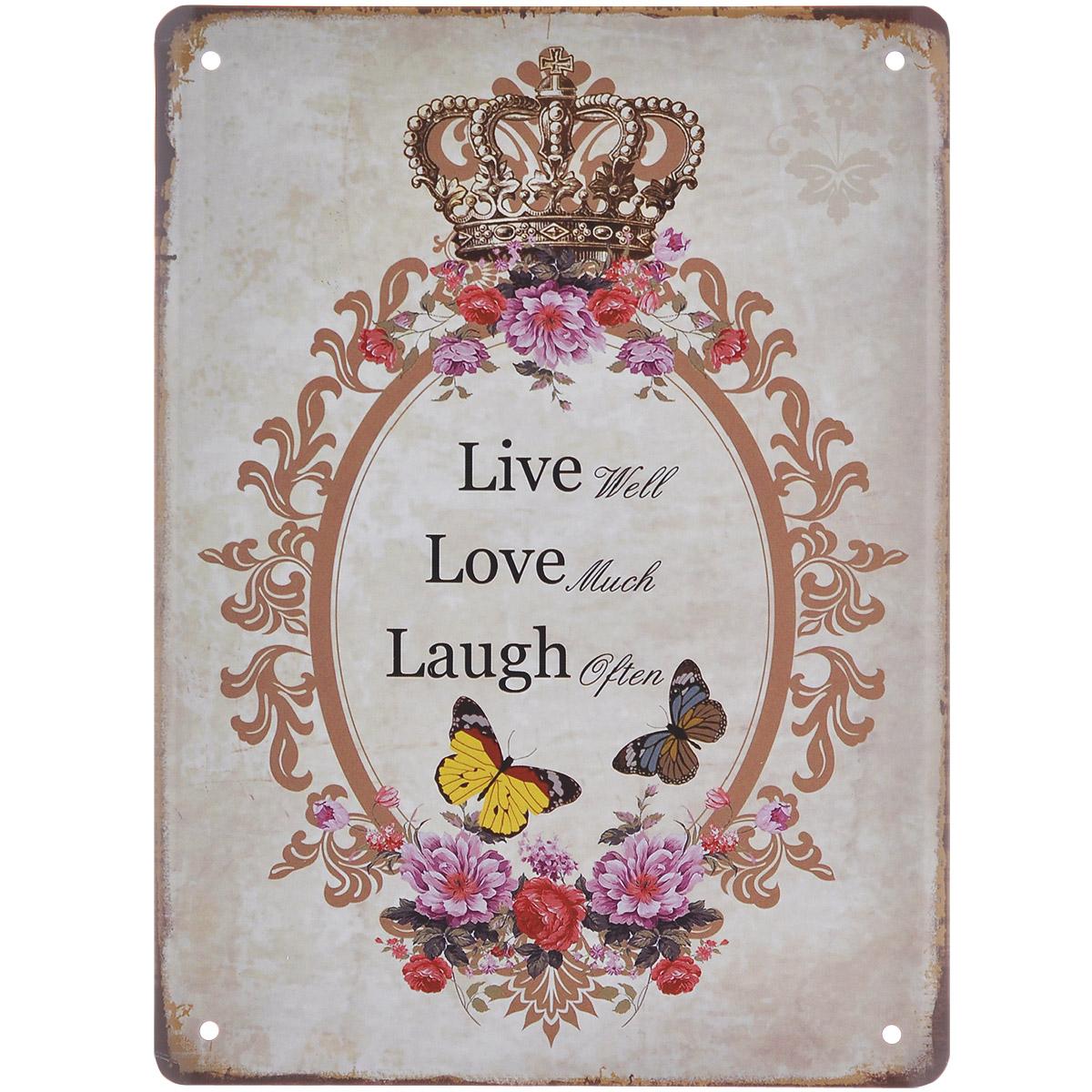 Постер Феникс-презент Для королевы, 15 см х 20 см - Феникс-презент37445Постер Феникс-презент Для королевы выполнен из черного металла. На постере изображены корона, цветы, бабочки и текст Live Well Love Much Laugh Often. Постер заинтересует всех любителей оригинальных вещиц и доставит массу положительных эмоций своему обладателю. Картина для интерьера (постер) - современное и актуальное направление в дизайне любых помещений. Постер может использоваться для оформления любых интерьеров: - дом, квартира (гостиная, спальня, кухня, прихожая, детская); - офис (комната переговоров, холл, кабинет); - бар, кафе, ресторан или гостиница. Из мелочей складывается стиль интерьера. Постер Феникс-презент Для королевы одна из тех деталей, которые придают интерьеру обжитой вид и создают ощущение уюта.