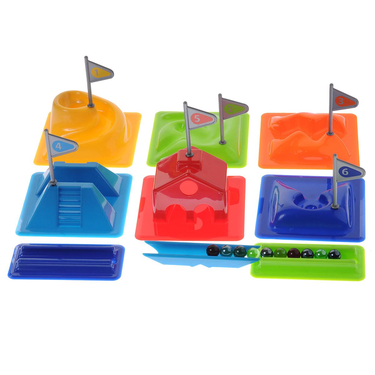 Djeco Игровой набор Гольф02001Игровой набор Djeco Гольф предназначен для активных и спортивных детей. В эту веселую игру можно играть и дома, и на улице. Цель игры - пройти весь маршрут из лунок с минимальным количеством ударов. В комплект игры входят 6 различных лунок, 2 дополнительных модуля для игры, 10 цветных стеклянных шариков, а также текстильная сумочка для хранения игры с двумя ручками для переноски. Игра развивает координацию, точность, силу удара. Рекомендуемый возраст: от 6 до 12 лет.
