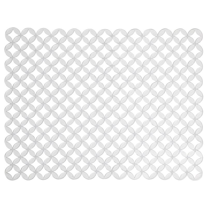 Коврик для раковины Umbra Meridian, цвет: прозрачный, 41 см х 32 см330885-165Стильный и удобный коврик для раковины Umbra Meridian выполнен из силикона. Он одновременно выполняет несколько функций: украшает, предотвращает появление на раковине царапин и сколов, защищает посуду от повреждений при падении в раковину, удерживает мусор, попадание которого в слив приводит к засорам. Изделие также обладает противоскользящим эффектом и может использоваться в качестве подставки для сушки чистой посуды. Легко очищается от грязи и жира. Размер коврика: 41 см х 32 см.