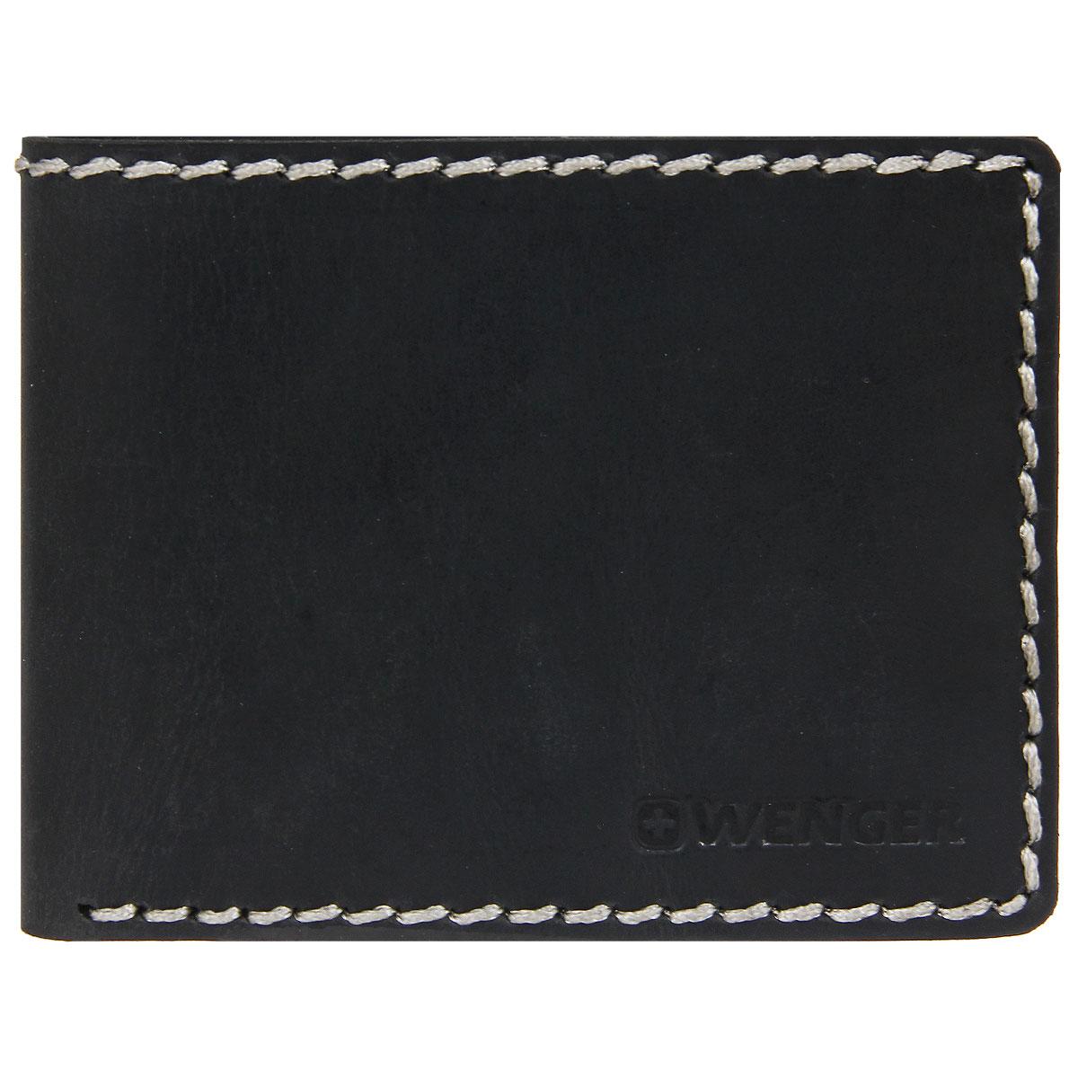 Портмоне мужское Wenger, цвет: черный. W23-26W23-26BLACKСтильное мужское портмоне Wenger изготовлено из натурального кожи и оформлено крупными декоративными стежками, а также тисненым логотипом и названием бренда на лицевой стороне. Внутри - два отделения для купюр, отсек для мелочи на замке-кнопке, три боковых кармана и четыре прорези для визиток и кредитных карт. Портмоне упаковано в фирменную коробку. Модное портмоне Wenger займет достойное место среди вашей коллекции аксессуаров.
