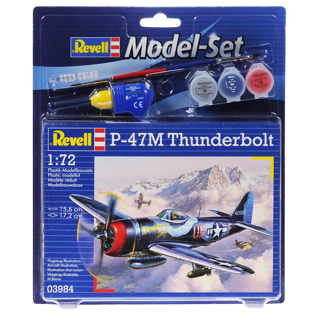 Набор для сборки и раскрашивания модели Revell Самолет P-47M Thunderbolt63984Набор для сборки и раскрашивания модели Revell Самолет P-47M Thunderbolt поможет вам и вашему ребенку придумать увлекательное занятие на долгое время. P-47 Thunderbolt - американский истребитель-бомбардировщик времен Второй Мировой. Являлся одним из основных истребителей ВВС. Поставлялся в СССР. Всего было поставлено 203 машины. Все они использовались в частях ПВО для защиты городов от налета вражеских бомбардировщиков. Набор включает в себя 67 пластиковых элементов для сборки модели, краски 3 цветов (алюминиевый металлик 99, матовый синий 56, матовый карминовый красный 36), клей, двустороннюю кисточку и схематичную инструкцию по сборке. Благодаря набору ваш ребенок научится различать цвета, творчески решать поставленные задачи, разовьет интеллектуальные и инструментальные способности, воображение, конструктивное мышление, внимание, терпение и кругозор. Уровень сложности: 3.