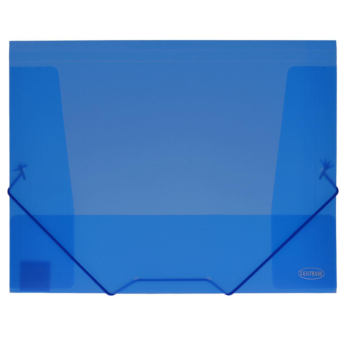 Папка-конверт на резинке Centrum, цвет: синий. Формат А4. 8001680016СПапка-конверт на резинке Centrum - это удобный и функциональный офисный инструмент, предназначенный для хранения и транспортировки рабочих бумаг и документов формата А4. Папка с двойной угловой фиксацией резиновой лентой изготовлена из износостойкого полупрозрачного пластика. Внутри папка имеет три клапана, что обеспечивает надежную фиксацию бумаг и документов. Папка - это незаменимый атрибут для студента, школьника, офисного работника. Такая папка надежно сохранит ваши документы и сбережет их от повреждений, пыли и влаги.