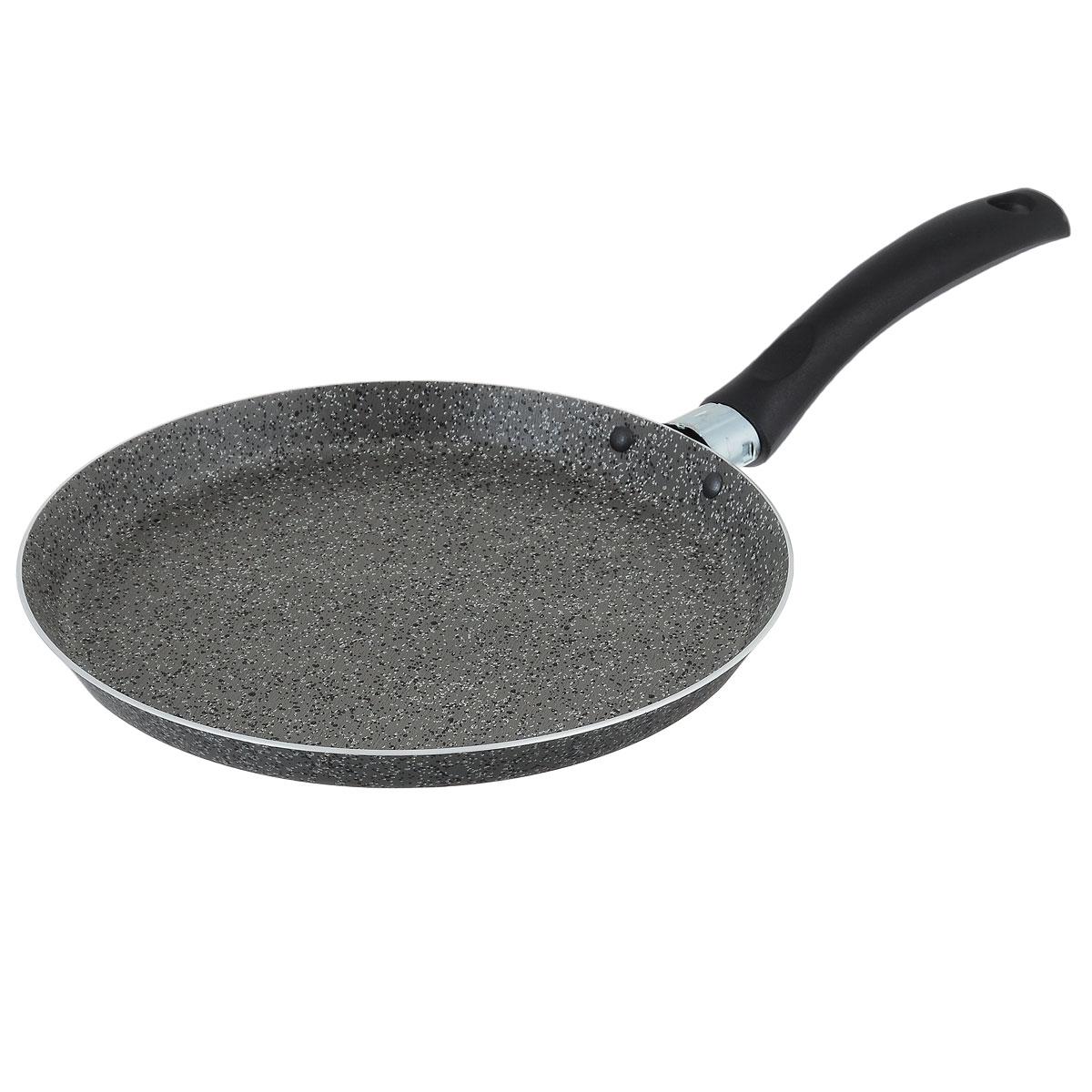 Сковорода для блинов Jarko Onyx, с антипригарным покрытием, цвет: серый. Диаметр 22 смJO-522-20Сковорода для блинов Jarko Onyx выполнена из алюминия с каменным антипригарным покрытием. Покрытие обладает превосходными антипригарными свойствами, не содержит PFOA, свинца и кадмия. Эргономичная ручка сковороды выполнена из бакелита. Сковорода подходит для всех типов плит, кроме индукционных. Можно мыть в посудомоечной машине. Диаметр дна сковороды: 22 см. Высота стенок сковороды: 2 см. Толщина стенок: 2,7 мм. Толщина дна: 2,7 мм. Длина ручки сковороды: 14 см.