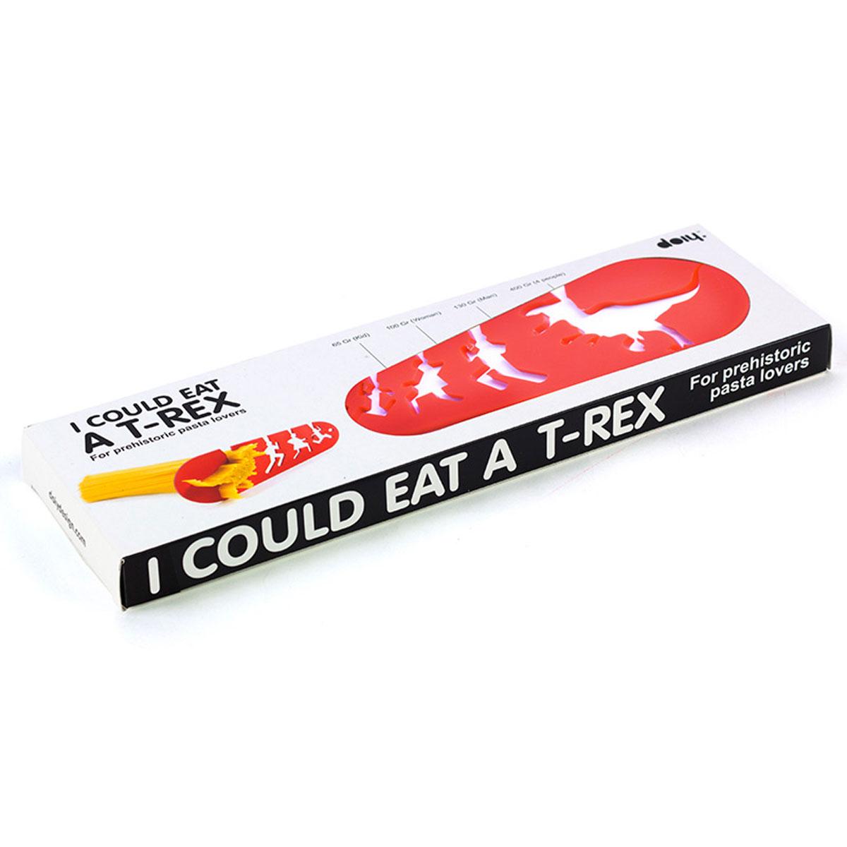Мера для спагетти Doiy I Could Eat A T-Rex, цвет: красныйDYICOULTXЗабавная мера для спагетти Doiy I Could Eat A T-Rex выполнена из экологически чистого пищевого пластика. Мера предназначена для спагетти, пасты, макарон, оснащена мерными делениями для мужчины, женщины, ребенка и для тех, кто так голоден, что съел бы тиранозавра (порция рассчитана на 4 человека). Размер меры: 17 см х 7 см.
