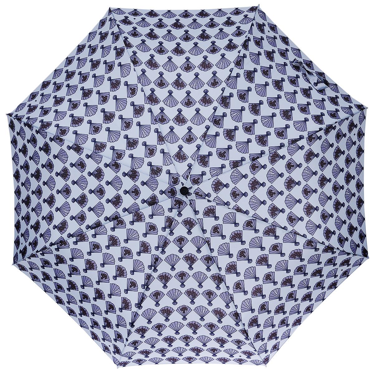 Зонт женский Fulton Flamenco, механический, 3 сложения, цвет: голубой. L354L354 _Серый_ВеераСтильный зонт Fulton Flamenco, защитит от непогоды, а его компактный размер позволит вам всегда носить его с собой. Ветростойкий алюминиевый каркас в 3 сложения состоит из восьми спиц с элементами из фибергласса, зонт оснащен удобной рукояткой из прорезиненного пластика. Купол зонта выполнен из прочного полиэстера и оформлен принтом. На рукоятке для удобства есть небольшой шнурок, позволяющий надеть зонт на руку тогда, когда это будет необходимо. К зонту прилагается чехол. Зонт механического сложения: купол открывается и закрывается вручную, стержень также складывается вручную до характерного щелчка. Характеристики: Материал: алюминий, фибергласс, пластик, полиэстер. Длина зонта в сложенном виде: 24 см. Длина ручки (стержня) в раскрытом виде: 54 см.