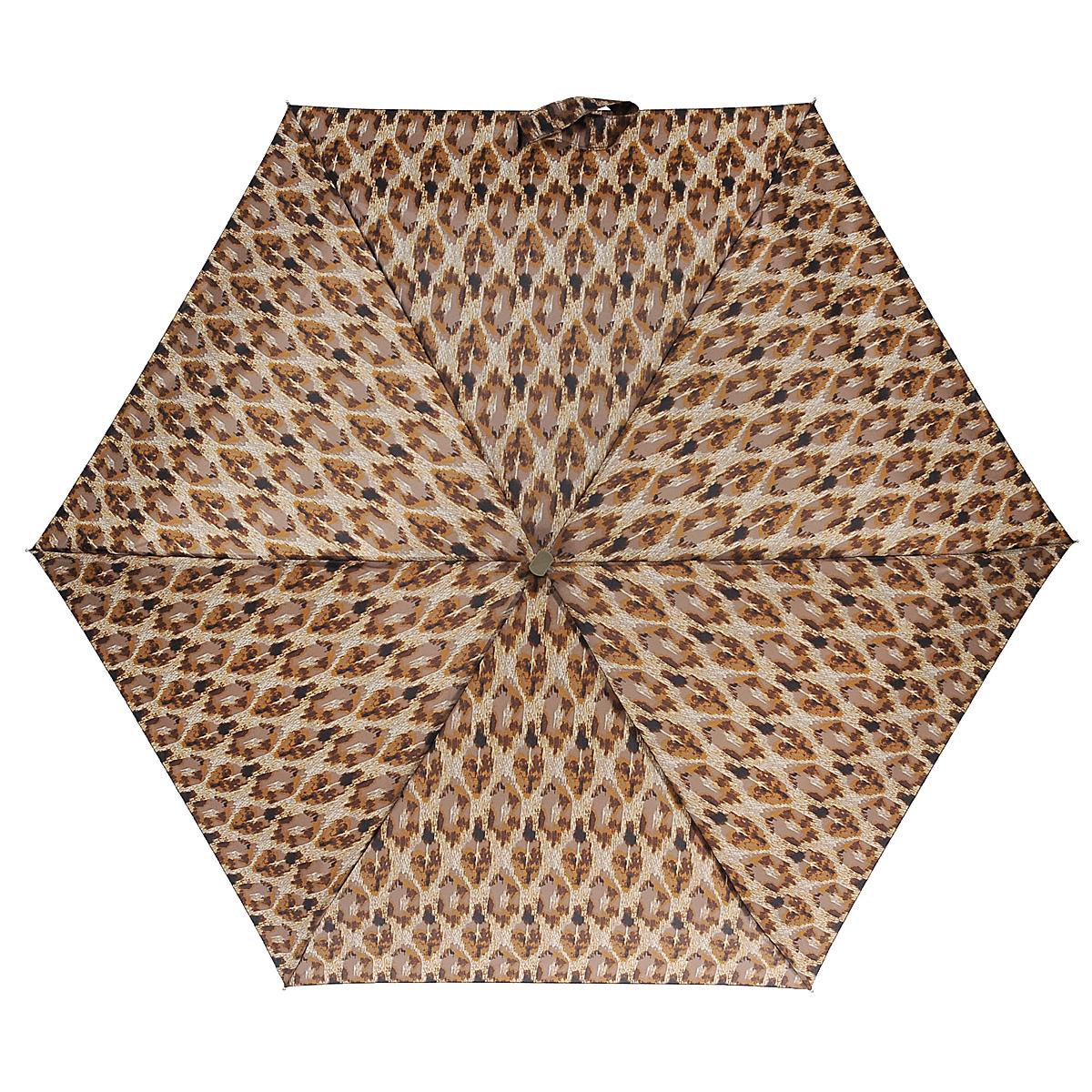 """Зонт женский Fulton Animal Aztec, механический, 5 сложений, цвет: коричневый. L501L501_Коричневый_ЛеопардСтильный зонт Fulton Animal Aztec, защитит от непогоды, а его сверхкомпактный размер позволит вам всегда носить его с собой. """"Ветростойкий"""" плоский алюминиевый каркас в 5 сложений состоит из шести спиц с элементами из фибергласса, зонт оснащен удобной рукояткой из дерева. Купол зонта выполнен из прочного полиэстера и оформлен леопардовым принтом. На рукоятке для удобства есть небольшой шнурок, позволяющий надеть зонт на руку тогда, когда это будет необходимо. К зонту прилагается чехол. Зонт механического сложения: купол открывается и закрывается вручную, стержень также складывается вручную до характерного щелчка. Характеристики: Материал: алюминий, фибергласс, пластик, полиэстер. Длина ручки (стержня) в раскрытом виде: 50 см."""