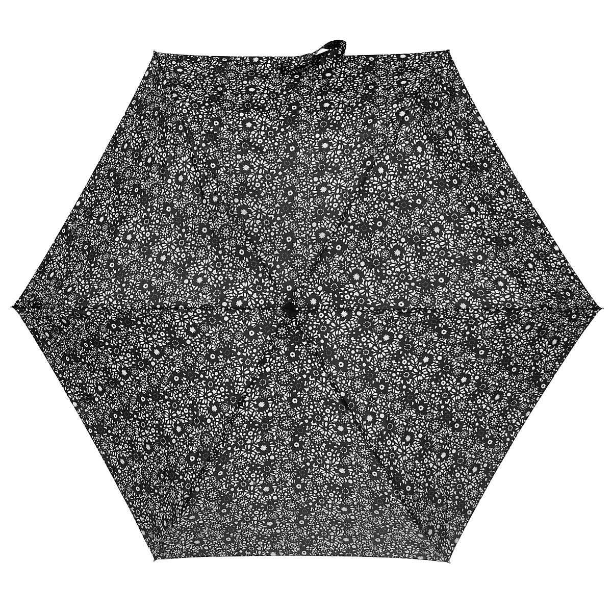Зонт женский Fulton Chantilly Lace, механический, 5 сложений, цвет: черный, белый. L501L501_Черный_Цветы