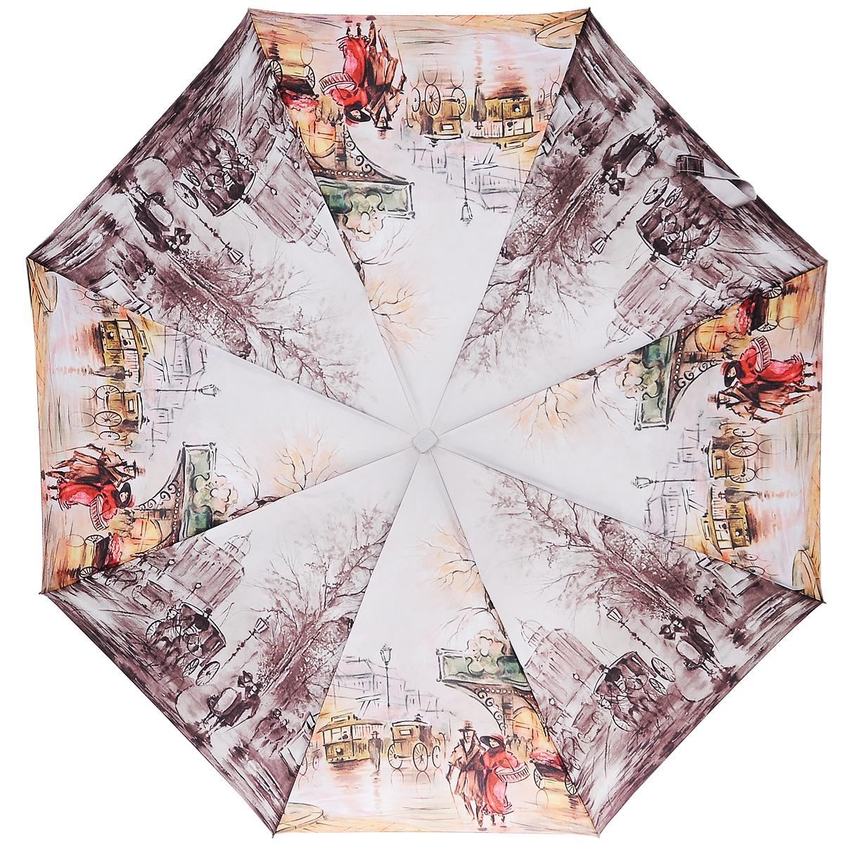 Зонт женский Zest, автомат, 3 сложения, цвет: серый, оранжевый. 23815-227023815-2270Автоматический зонт Zest в 3 сложения даже в ненастную погоду позволит вам оставаться стильной и элегантной. Детали каркаса изготовлены из высокопрочных материалов, специальная система Windproof защищает его от поломок. Зонт оснащен 8 спицами, выполненными из фибергласса. Ручка - продолговатая, вытянутая, выполнена из прорезиненного пластика разработана с учетом требований эргономики. Используемые высококачественные красители, а также покрытие Teflon обеспечивают длительное сохранение свойств ткани купола зонта. Купол выполнен из полиэстера и оформлен изображением городского пейзажа. Зонт имеет полный автоматический механизм сложения: купол открывается и закрывается нажатием кнопки на рукоятке, стержень складывается вручную до характерного щелчка. На рукоятке для удобства есть небольшой шнурок, позволяющий надеть зонт на руку тогда, когда это будет необходимо. К зонту прилагается чехол. Характеристики: Материал: алюминий,...