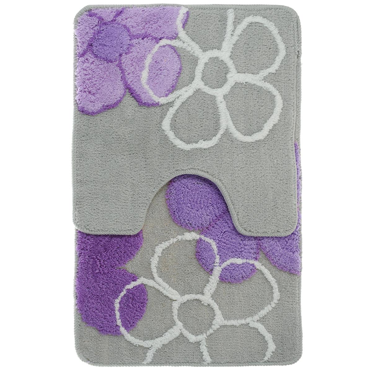 Комплект ковриков для ванной Fresh Code, цвет: серый, фиолетовый, 2 предмета55010Комплект Fresh Code состоит из коврика для ванной комнаты и туалета. Коврики изготовлены из акрила и оформлены цветочным изображением. Это экологически чистый, быстросохнущий, мягкий и износостойкий материал. Красители устойчивы, поэтому коврики не потускнеют даже после многократных стирок в стиральной машине. Благодаря латексной основе коврики не скользят на полу. Края изделий обработаны оверлоком. Можно использовать на полу с подогревом. Набор для ванной Fresh Code подарит ощущение тепла и комфорта, а также привнесет уют в вашу ванную комнату.