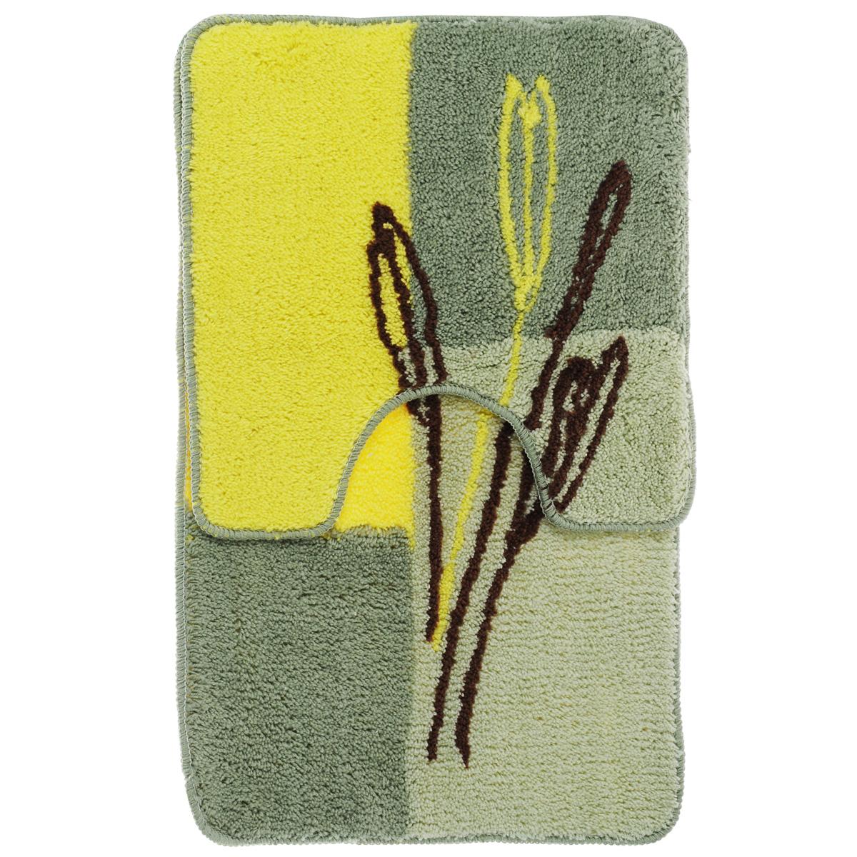 Комплект ковриков для ванной Fresh Code, цвет: зеленый, желтый, 2 предмета55010Комплект Fresh Code состоит из коврика для ванной комнаты и туалета. Коврики изготовлены из акрила. Это экологически чистый, быстросохнущий, мягкий и износостойкий материал. Красители устойчивы, поэтому коврики не потускнеют даже после многократных стирок в стиральной машине. Благодаря латексной основе коврики не скользят на полу. Края изделий обработаны оверлоком. Можно использовать на полу с подогревом. Набор для ванной Fresh Code подарит ощущение тепла и комфорта, а также привнесет уют в вашу ванную комнату.