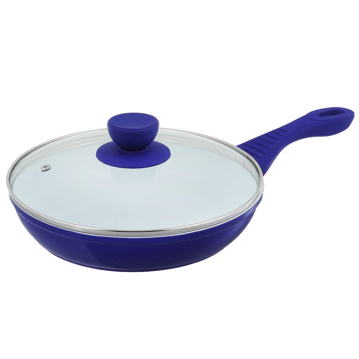 Сковорода Bohmann с крышкой, с керамическим покрытием, цвет: синий. Диаметр 22 см. BH 7022WSBH 7022WSСковорода Bohmann изготовлена из литого алюминия с антипригарным керамическим покрытием. Благодаря керамическому покрытию пища не пригорает и не прилипает к поверхности сковороды, что позволяет готовить с минимальным количеством масла. Кроме того, такое покрытие абсолютно безопасно для здоровья человека, так как не содержит вредной примеси PTFE. Сковорода оснащена эргономичной бакелитовой ручкой и стеклянной крышкой с отверстием для выхода пара. Сковорода подходит для всех типов плит, включая индукционные. Подходит для чистки в посудомоечной машине.