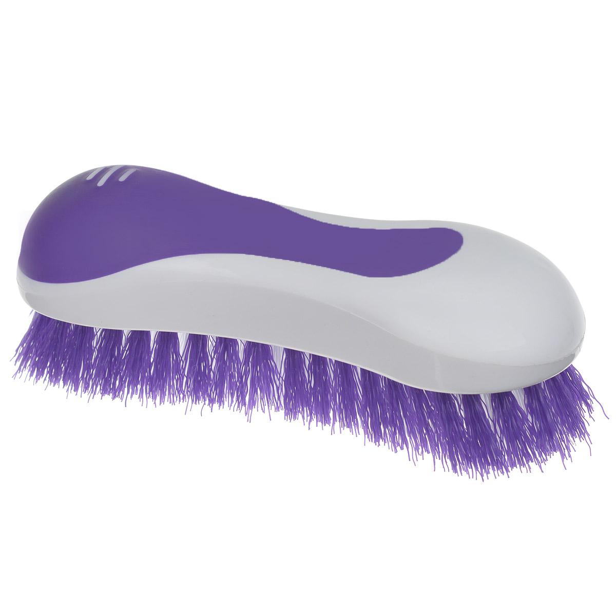 Еврощетка Home Queen, универсальная, цвет: фиолетовый, белый52072Еврощетка Home Queen, выполненная из полипропилена, является универсальной щеткой для очистки любых поверхностей, эффективно очищает загрязнения. Эргономичная форма для большего удобства использования. Размер: 20 см х 7 см х 7 см. Длина ворсинок: 3 см.