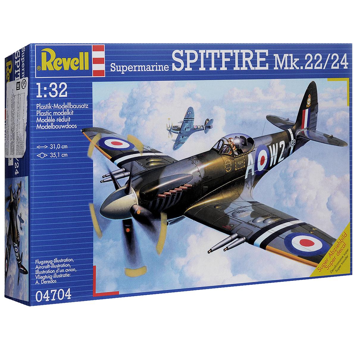 Сборная модель Revell Военный самолет Spitfire Mk-22/244704Сборная модель Revell Военный самолет Spitfire Mk-22/24 вы и ваш ребенок сможете собрать уменьшенную копию настоящего самолета. Spitfire Mk-22/24 - самый известный и многочисленный военный самолет Британских ВВС времен Второй мировой войны. Он постоянно модифицировался и развивался. Версии 22 и 24 были очень похожи между собой, отличаясь лишь электрической системой. Mk 22 использовался в 73 эскадрильи Ближнего Востока, на Мальте, в 1946-1951 годах еще в Ирландии. Mk 24 служил в 80 эскадрильи. Вооружение самолета состояло из четырех 20-мм пушек, он мог нести до 454 кг бомб или ракет, развивал скорость в 726 км/час. Набор содержит все необходимое: 118 элементов для сборки, схематичную инструкцию и лист с наклейками. Благодаря набору ваш ребенок разовьет интеллектуальные и инструментальные способности, воображение, конструктивное мышление, внимание, терпение и кругозор. Уровень сложности: 5. УВАЖАЕМЫЕ КЛИЕНТЫ! Обращаем ваше внимание на тот...