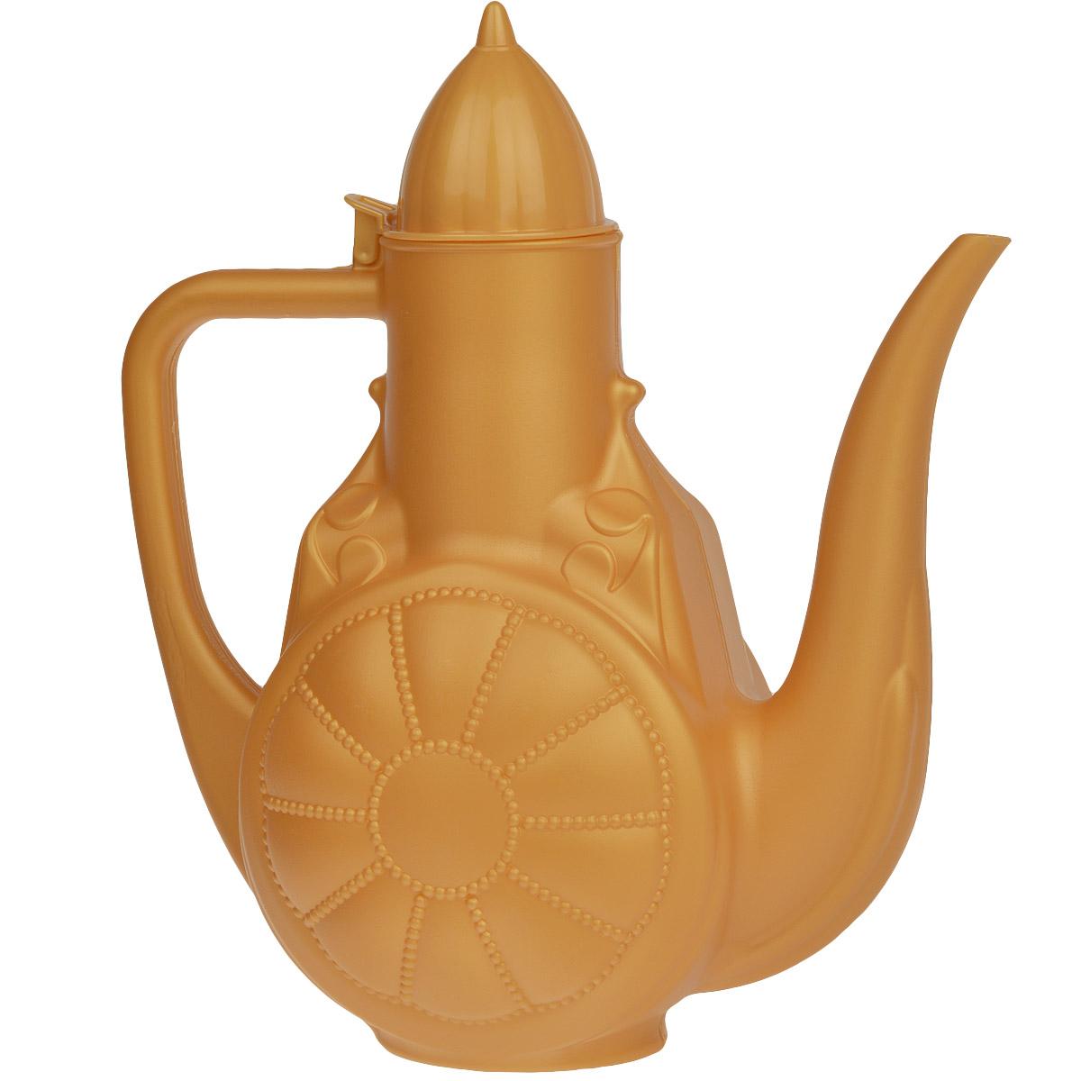 Кувшин Альтернатива Восточные сказки, цвет: оранжевый, 3 лM1795Кувшин Альтернатива Восточные сказки изготовлен из высококачественного непищевого пластика, оснащен носиком, откидной крышкой и имеет узкое горло. Такой кувшин - кумган - применяется в основном для умывания и мытья рук на исламском востоке, а также подмывания, исходя из традиции отправления естественных потребностей на исламском востоке. Кувшин можно также использовать в хозяйственных нуждах.