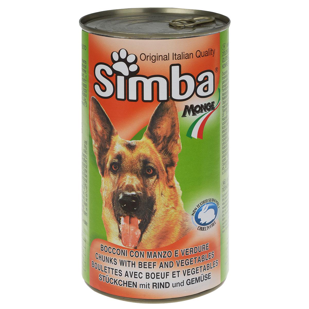 Консервы для собак Monge Simba, кусочки с говядиной и овощами, 1230 г70009188Консервы для собак Monge Simba - это полноценный сбалансированный корм для собак. Кусочки с говядиной и овощами в соусе. Состав: мясо и мясные субпродукты (говядина не менее 8%), овощи (не менее 4,2%), злаки, молочный протеин, яйца, минеральные вещества, витамины, загустители и желирующие вещества. Анализ компонентов: протеин 8%, жир 6%, клетчатка 1,21%, зола 3%, влажность 80%. Витамины и добавки на 1 кг: витамин А 2000 МЕ, витамин D3 200 МЕ, витамин Е 5 мг. Товар сертифицирован.