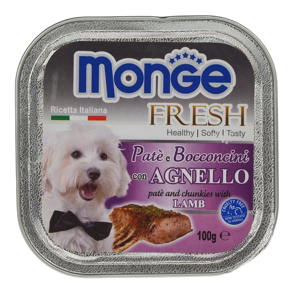 Консервы для собак Monge Fresh, с ягненком, 100 г70013055Консервы для собак Monge Fresh - полнорационный корм для собак. Паштет из мяса ягненка. Состав: свежее мясо 80% (содержание баранины мин. 10%), минеральные вещества, витамины. Технологические добавки: загустители и желирующие вещества. Анализ компонентов: белок 9%, жир 7%, сырая клетчатка 0,5%, сырая зола 1,2%, влажность 82%. Витамины и добавки на 1 кг: витамин А 3000МЕ, витамин D3 400 МЕ, витамин Е 15 мг. Товар сертифицирован.