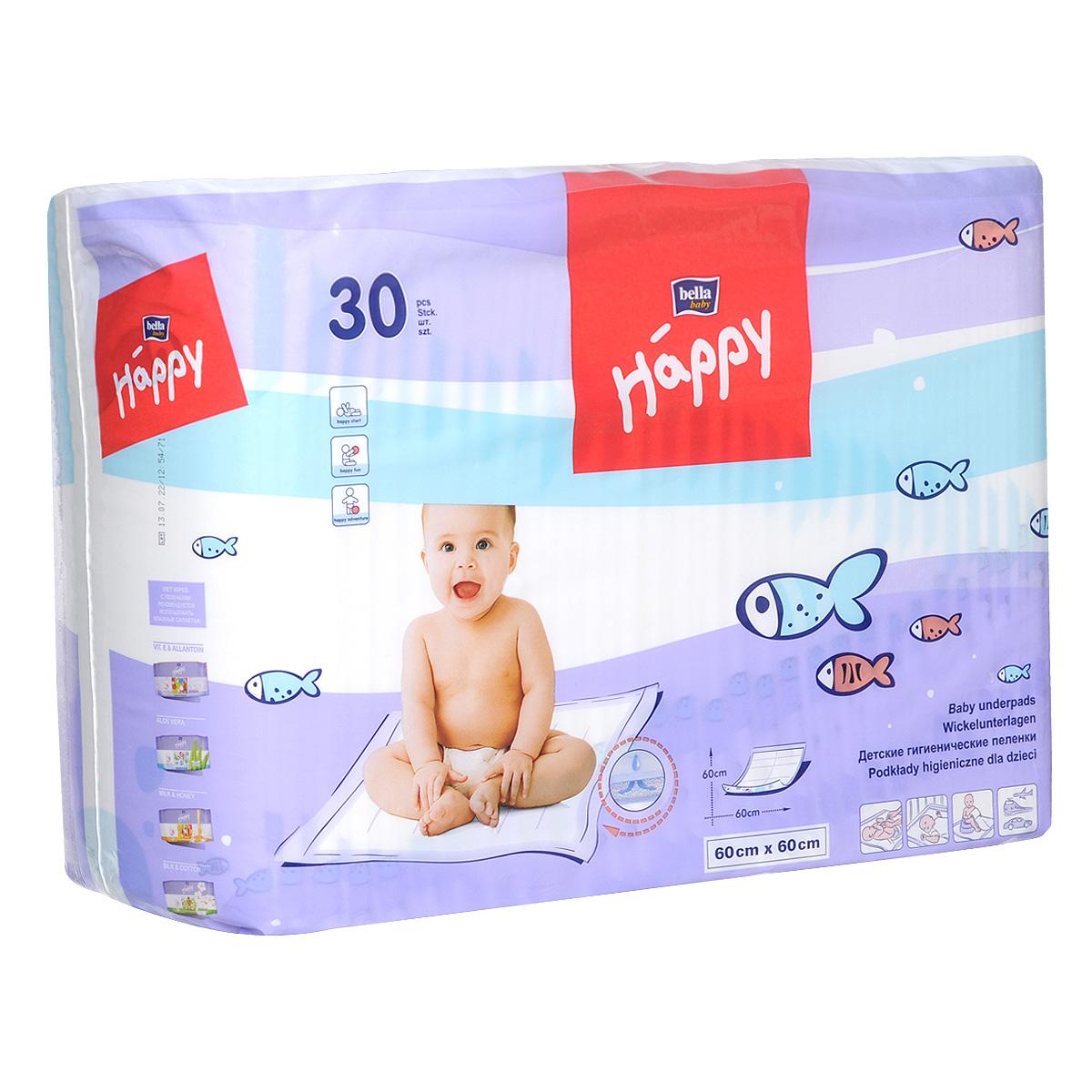 Bella Baby Happy Пеленки гигиенические, детские, 60 см x 60 см, 30 штBB-091-6030-001Пеленки Bella Baby Happy имеют нежный, приятый на ощупь верхний нетканый материал. Идеально подходят для защиты от загрязнений во время смены подгузника. Незаменимы во время прогулки или в путешествии. Идеально подойдут для защиты постельного белья в кровати вашего крохи или во время процедур по уходу после купания. Если пеленка не запачкается, то возможно ее повторное использование. В комплект входят 30 пеленок размером 60 см х 60 см.