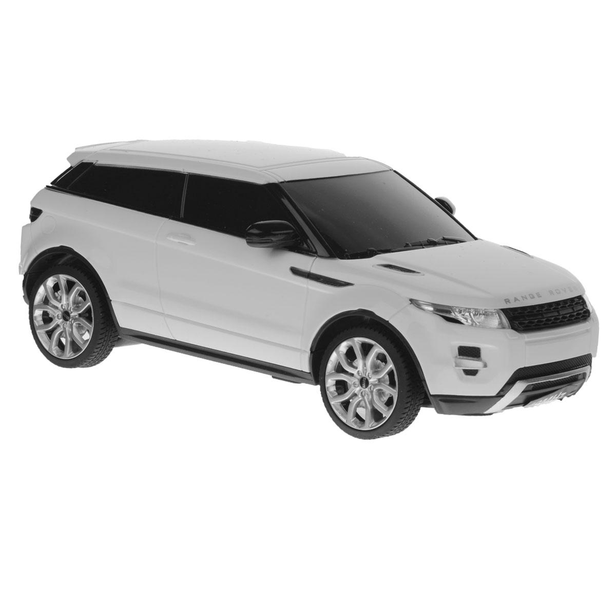 Rastar Радиоуправляемая модель Range Rover Evoque цвет белый масштаб 1:2446900_белРадиоуправляемая модель Rastar Range Rover Evoque со световыми эффектами, являющаяся точной копией настоящего автомобиля, - отличный подарок не только ребенку, но и взрослому. Это точная копия настоящего автомобиля, которая изготовлена из прочных материалов, шины выполнены из мягкой резины. При движении у машины горят передние и задние фары. Она может перемещаться вперед, дает задний ход, поворачивает влево и вправо, останавливается. Ребенок часами будет играть с моделью, придумывая различные истории и устраивая соревнования. Для работы машинки требуются 3 батареи типа AА (не входят в комплект). Для работы пульта управления требуются 2 батареи типа АА (не входят в комплект). Частота: 27 МГц.
