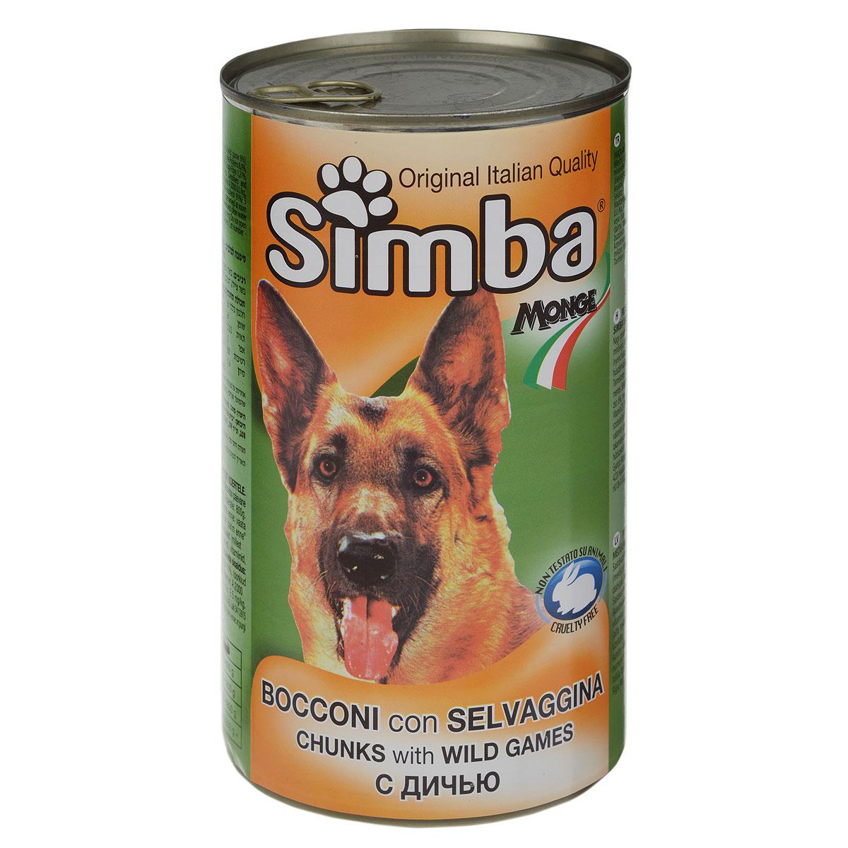 Консервы для собак Monge Simba, кусочки с дичью, 1230 г70009157Консервы для собак Monge Simba - это полноценный сбалансированный корм для собак. Кусочки с дичью в соусе. Состав: мясо и мясные субпродукты (мясо дичи не менее 6%), злаки, минеральные вещества, витамины, натуральные красители и вкусовые добавки. Анализ компонентов: протеин 8%, жир 6%, клетчатка 1,21%, зола 3%, влажность 80%. Витамины и добавки на 1 кг: витамин А 2000 МЕ, витамин D3 200 МЕ, витамин Е 5 мг. Товар сертифицирован.