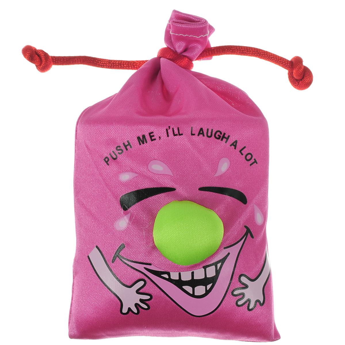Сувенир Эврика Мешочек со смехом, цвет: розовый93395Сувенир Эврика Мешочек со смехом, изготовленный из текстиля, несомненно, станет замечательным и оригинальным подарком для друзей и близких и вызовет улыбку у каждого! Мешочек является замечательным антидепрессантом и улучшителем настроения. Сожмите его в руке и он зальется звонким смехом. Изделие оформлено забавной смеющейся рожицей и надписью Push me, ill laugh a lot. Отличный сувенир для хорошего настроения!