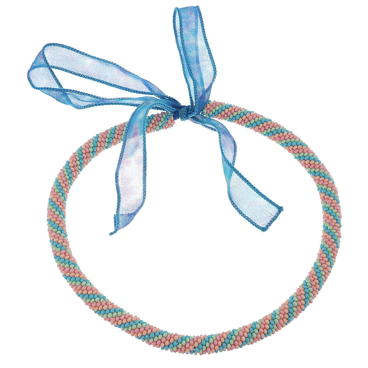 Бусы-шнур с узором Полосатый. Бисер, ручная работаШТ8Вместо замка - шелковая ленточка, которую можно завязывать сзади, спереди и сбоку.