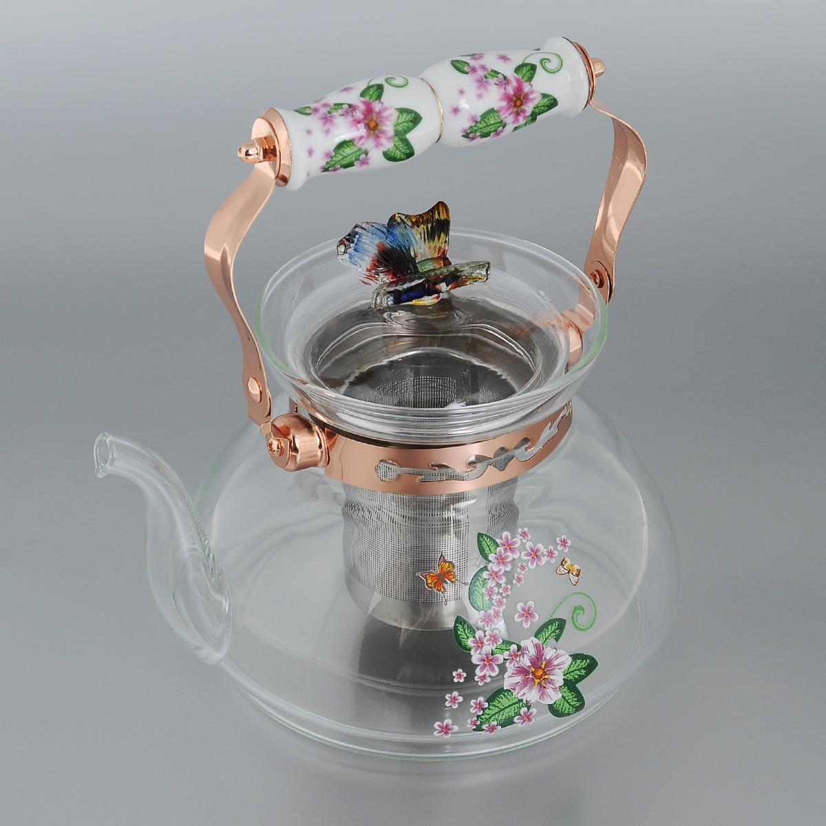 Чайник заварочный Bekker, цвет: розовый, зеленый, 1,2 лВК-7617Заварочный чайник Bekker изготовлен из высококачественного жаропрочного стекла. Изделие декорировано изображением цветов. Чайник оснащен удобной фарфоровой ручкой. Крышка выполнена из стекла. Красочность оформления придется по вкусу и ценителям классики, и тем, кто предпочитает утонченность и изысканность. Оригинальный рисунок придает изделию особый шарм, который понравится каждому. Подходит для использования на газовой плите. Можно мыть в посудомоечной машине. Высота чайника (с учетом ручки): 21 см. Диаметр по верхнему краю: 11 см. Диаметр основания: 14 см.