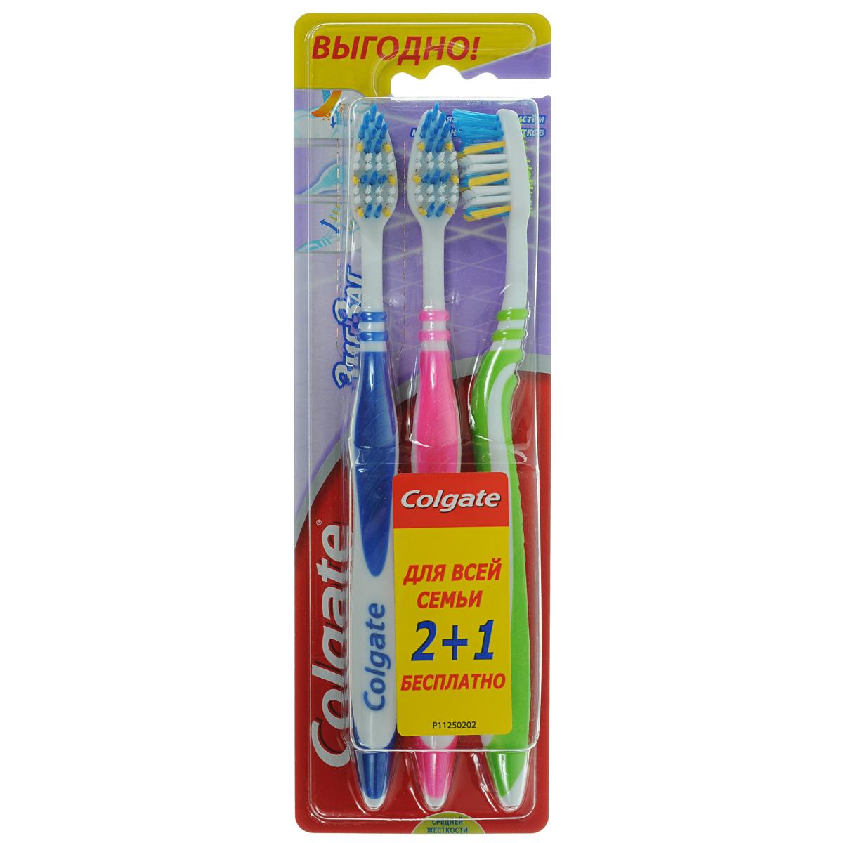 Colgate Зубная щетка Зиг-Заг, средней жесткости, 2+1FVN59964Colgate Зиг-Заг - зубная щетка средней жесткости. Перекрещивающиеся щетинки идеально подойдут для чистки межзубных промежутков. Эргономичная ручка не скользит в ладони, амортизирует давление руки на нежную поверхность десен. Товар сертифицирован. Длина щетки: 19 см. Размер рабочей поверхности: 3 см х 1,5 см. Материал: пластик. Комплектация: 3 шт.