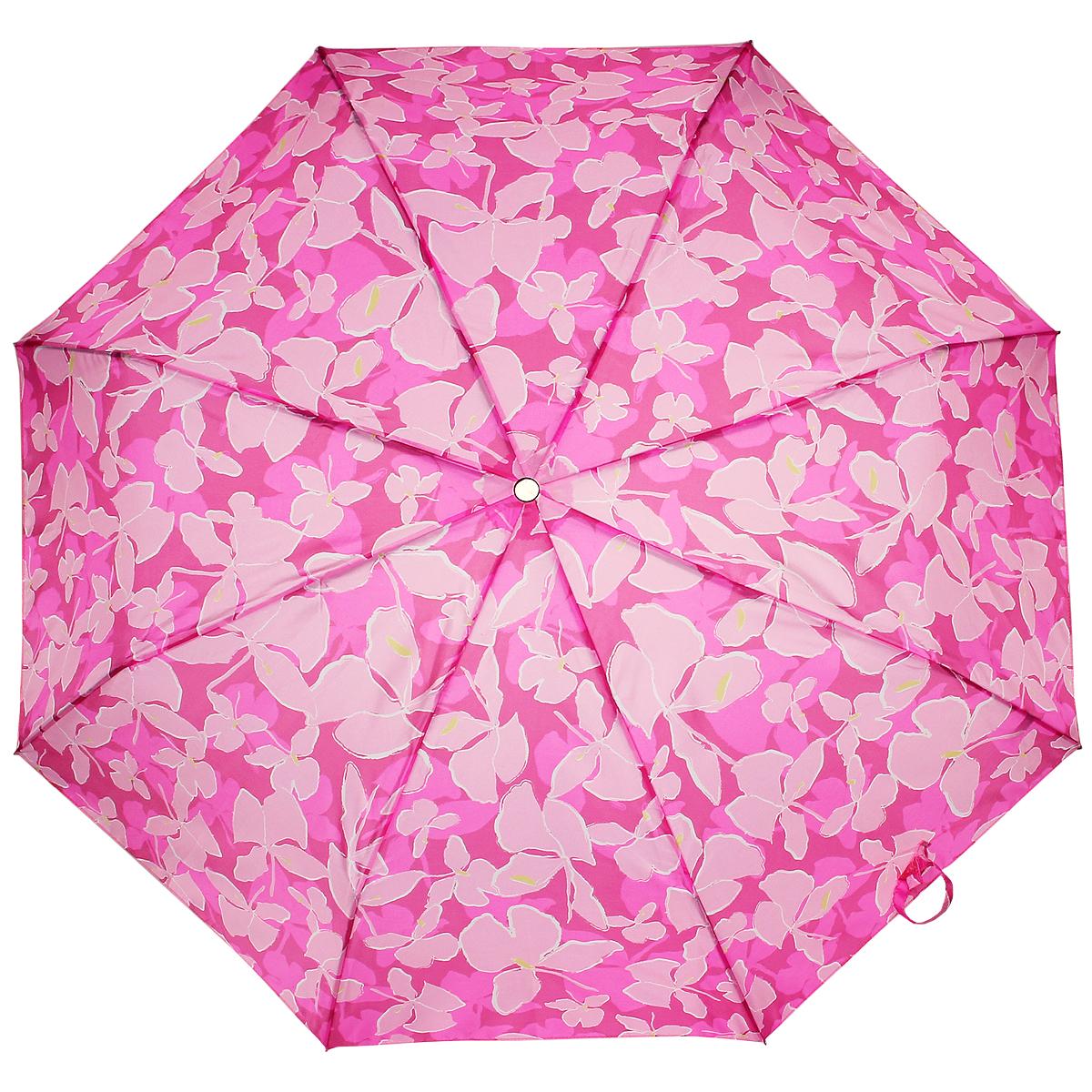 Зонт женский Edmins, автомат, 3 сложения, цвет: розовый. 112 45112 45Очаровательный автоматический зонт Edmins в 3 сложения даже в ненастную погоду позволит вам оставаться стильной и элегантной. Каркас зонта состоит из 8 металлических спиц и прочного стержня. Купол зонта выполнен из полиэстера и оформлен цветочным узором. Рукоятка выполнена из пластика. Зонт имеет полный автоматический механизм сложения: купол открывается и закрывается нажатием кнопки на рукоятке, стержень складывается вручную до характерного щелчка. Благодаря этому открыть и закрыть зонт можно одной рукой, что чрезвычайно удобно при входе в транспорт или помещение. Небольшой шнурок, расположенный на рукоятке, позволяет надеть изделие на руку при необходимости. Модель закрывается при помощи хлястика на застежке-липучке. К зонту прилагается чехол. Такой зонт не только надежно защитит вас от дождя, но и станет стильным аксессуаром, который идеально подчеркнет ваш неповторимый образ.