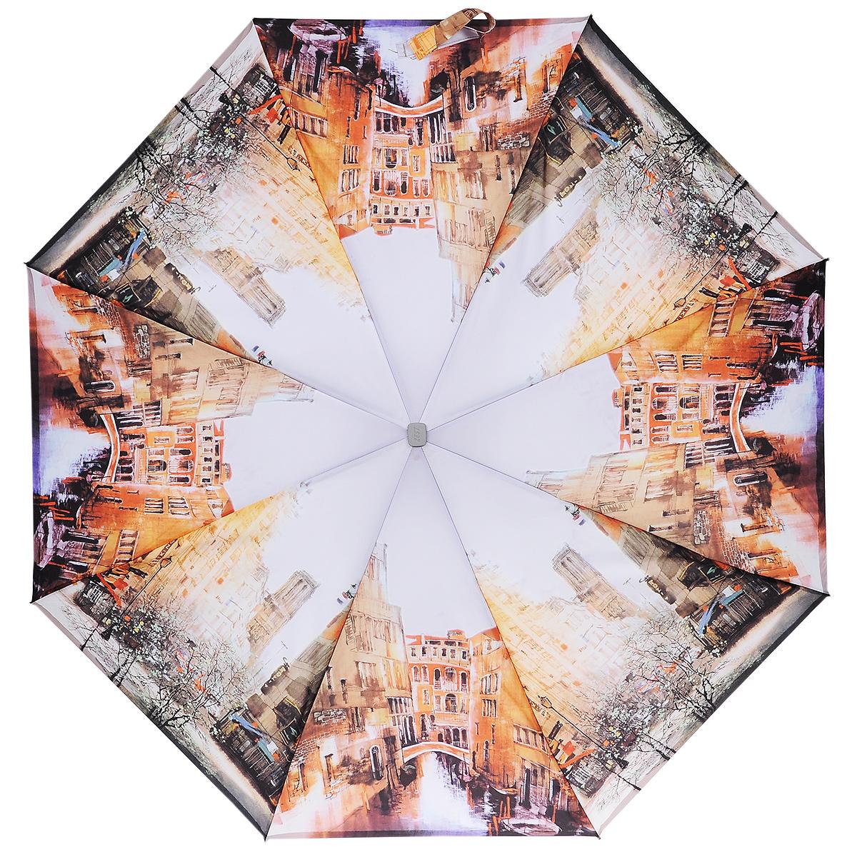 Зонт женский Zest, автомат, 3 сложения, цвет: оранжевый. 23815-911323815-9113Автоматический зонт Zest в 3 сложения даже в ненастную погоду позволит вам оставаться стильной и элегантной. Детали каркаса изготовлены из высокопрочных материалов, специальная система Windproof защищает его от поломок. Зонт оснащен 8 спицами, выполненными из фибергласса. Ручка из прорезиненного пластика разработана с учетом требований эргономики. Используемые высококачественные красители, а также покрытие Teflon обеспечивают длительное сохранение свойств ткани купола зонта. Купол выполнен из полиэстера и оформлен изображением городского пейзажа. Зонт имеет полный автоматический механизм сложения: купол открывается и закрывается нажатием кнопки на рукоятке, стержень складывается вручную до характерного щелчка. На рукоятке для удобства есть небольшой шнурок, позволяющий надеть зонт на руку тогда, когда это будет необходимо. К зонту прилагается чехол. Характеристики: Материал: алюминий, фибергласс, пластик, полиэстер. Длина...