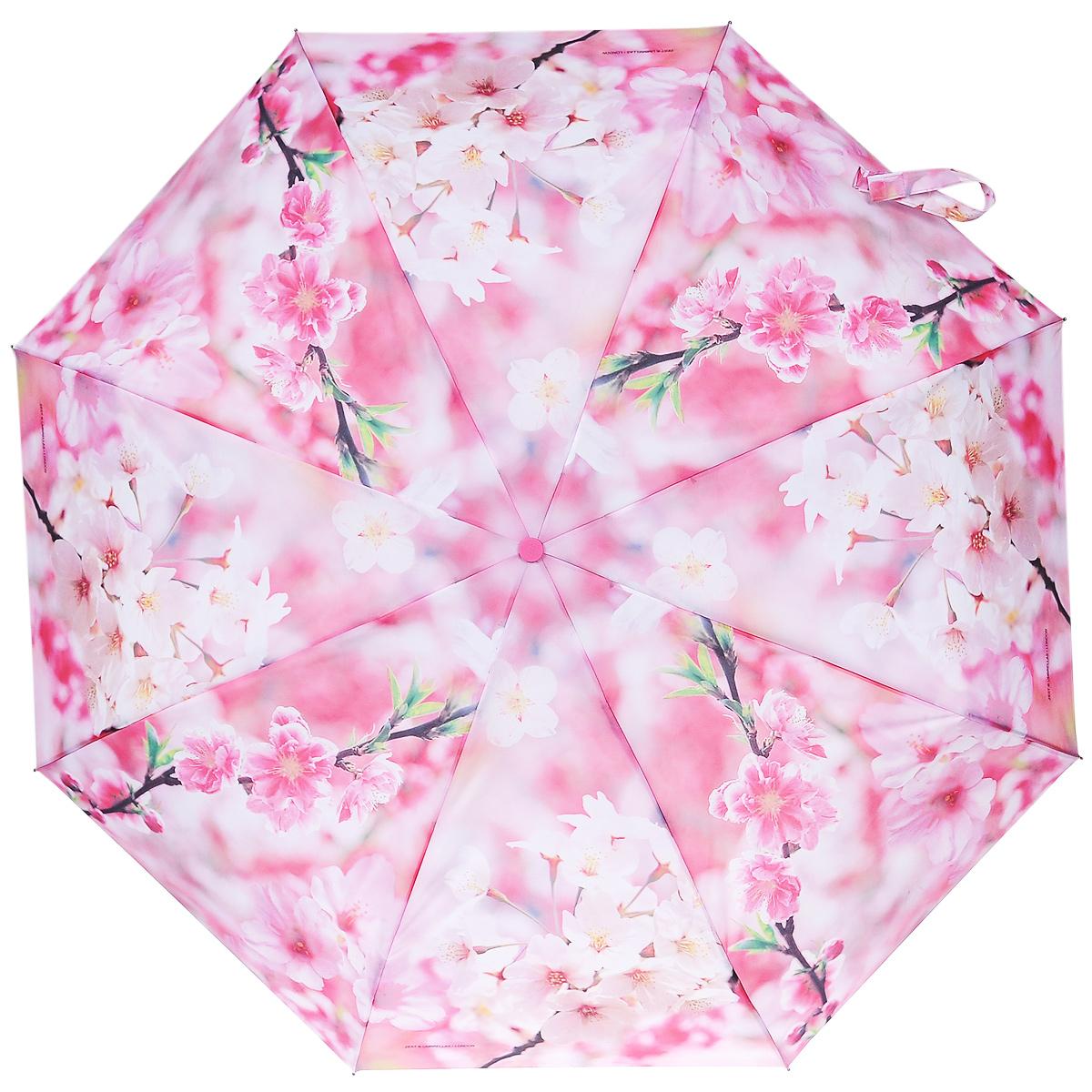 Зонт женский Zest, автомат, 4 сложения, цвет: розовый. 24755-699024755-6990Женский автоматический зонт Zest в 4 сложения даже в ненастную погоду позволит вам оставаться стильной и элегантной. Каркас зонта состоит из 8 спиц из фибергласса и стали и прочного алюминиевого стержня. Специальная система Windproof защищает его от поломок во время сильных порывов ветра. Купол зонта выполнен из прочного полиэстера с водоотталкивающей пропиткой и оформлен цветочным принтом. Используемые высококачественные красители, а также покрытие Teflon обеспечивают длительное сохранение свойств ткани купола. Рукоятка, разработанная с учетом требований эргономики, выполнена из приятного на ощупь прорезиненного пластика. Зонт имеет полный автоматический механизм сложения: купол открывается и закрывается нажатием кнопки на рукоятке, стержень складывается вручную до характерного щелчка, благодаря чему открыть и закрыть зонт можно одной рукой, что чрезвычайно удобно при входе в транспорт или помещение. На рукоятке для удобства есть небольшой шнурок, позволяющий надеть...
