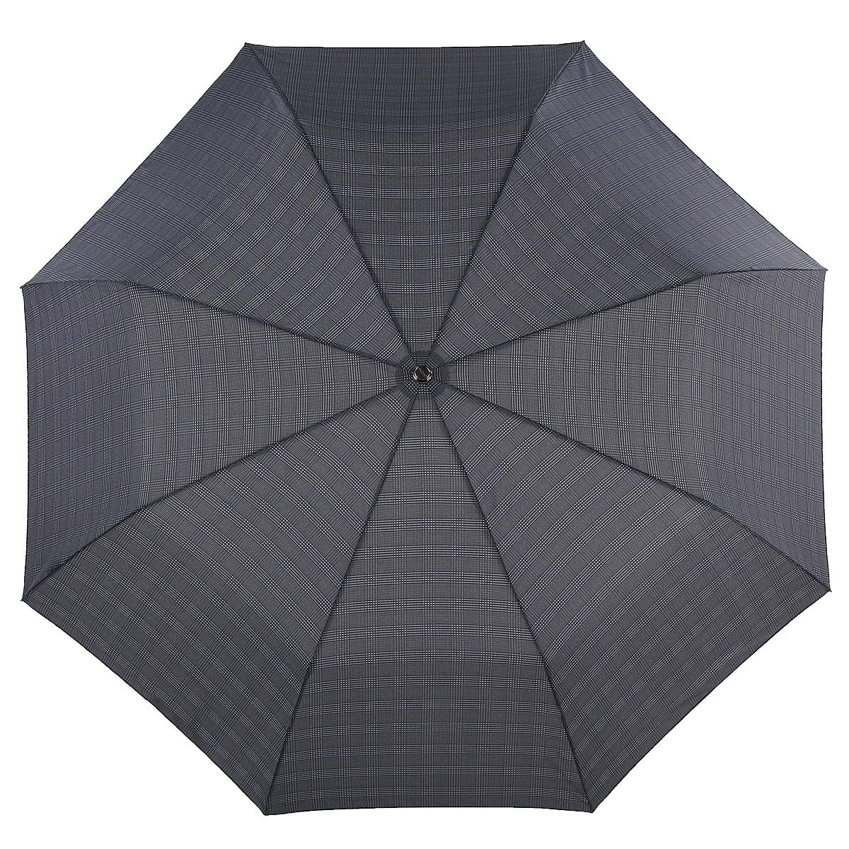 Зонт мужской Doppler, автомат, 3 сложения. 74367 black kletka74367 black kletkaСтильный автоматический зонт Doppler в 3 сложения даже в ненастную погоду позволит вам оставаться элегантным. Каркас зонта состоит из восьми карбоновых спиц и шестигранного стержня из никелированной стали. Удобная рукоятка выполнена из прорезиненного пластика. Купол зонта изготовлен из полиэстера с водоотталкивающей пропиткой и оформлен принтом в серую клетку. Зонт снабжен системой антиветер, которая не позволяет куполу выгибаться во время сильного ветра. Прочные высококачественные материалы, устойчивые к ржавчине и коррозии, обеспечивают надежность и долгий срок службы. Зонт имеет автоматический механизм сложения: купол открывается и закрывается нажатием кнопки на рукоятке, стержень складывается вручную до характерного щелчка. Открыть и закрыть зонт можно одной рукой, что чрезвычайно удобно при входе в транспорт или помещение. К зонту прилагается чехол.