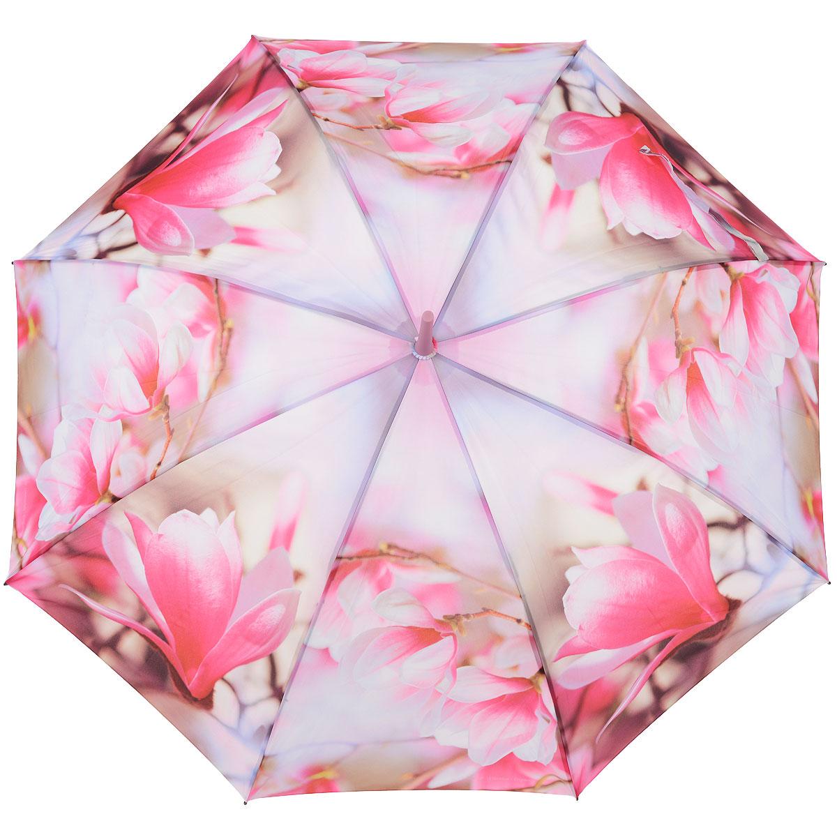 Зонт-трость женский Zest, цвет: розовый. 216255-38216255-38Женский полуавтоматический зонт-трость Zest даже в ненастную погоду позволит вам оставаться стильной и элегантной. Каркас зонта состоит из 8 спиц из фибергласса и прочного стержня из пластика. Специальная система Windproof защищает его от поломок во время сильных порывов ветра. Купол зонта выполнен из прочного полиэстера с водоотталкивающей пропиткой и оформлен изображением цветов. Используемые высококачественные красители, а также покрытие Teflon обеспечивают длительное сохранение свойств ткани купола. Рукоятка закругленной формы, разработанная с учетом требований эргономики, выполнена из приятного на ощупь прорезиненного пластика розового цвета. Зонт имеет полуавтоматический механизм сложения: купол открывается нажатием на кнопку и закрывается вручную до характерного щелчка. Такой зонт не только надежно защитит вас от дождя, но и станет стильным аксессуаром, который идеально подчеркнет ваш неповторимый образ.