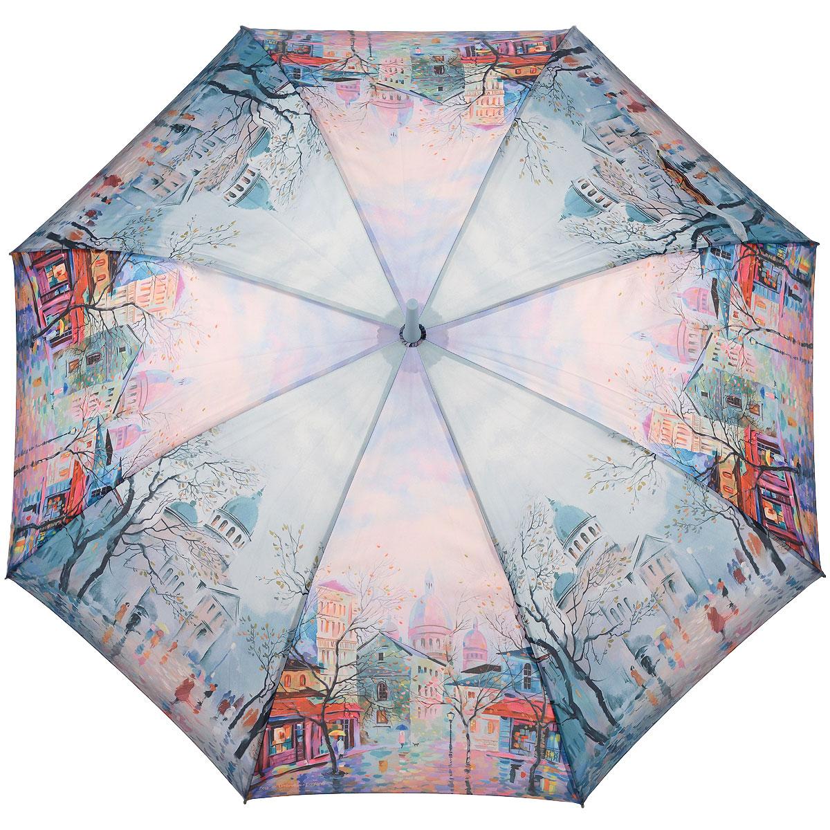 Зонт-трость женский Zest, цвет: голубой. 216255-52216255-52Женский полуавтоматический зонт-трость Zest даже в ненастную погоду позволит вам оставаться стильной и элегантной. Каркас зонта состоит из 8 спиц из фибергласса и прочного стержня из пластика. Специальная система Windproof защищает его от поломок во время сильных порывов ветра. Купол зонта выполнен из прочного полиэстера с водоотталкивающей пропиткой и оформлен изображением городского пейзажа. Используемые высококачественные красители, а также покрытие Teflon обеспечивают длительное сохранение свойств ткани купола. Рукоятка закругленной формы, разработанная с учетом требований эргономики, выполнена из приятного на ощупь прорезиненного пластика голубого цвета. Зонт имеет полуавтоматический механизм сложения: купол открывается нажатием на кнопку и закрывается вручную до характерного щелчка. Такой зонт не только надежно защитит вас от дождя, но и станет стильным аксессуаром, который идеально подчеркнет ваш неповторимый образ.