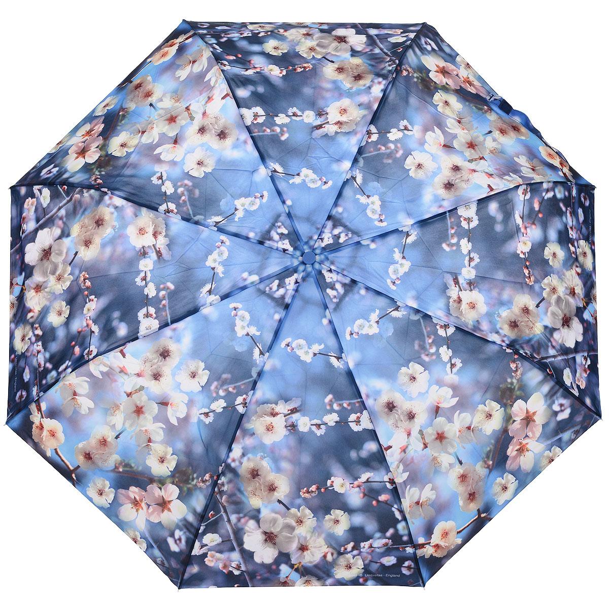 """Зонт женский Zest, автомат, 3 сложения, цвет: голубой. 239555-73239555-73Автоматический зонт Zest в 3 сложения даже в ненастную погоду позволит вам оставаться стильной и элегантной. Детали каркаса изготовлены из высокопрочных материалов, специальная система """"Windproof"""" защищает его от поломок. Зонт оснащен 8 спицами, выполненными из алюминия и фибергласса. Ручка из прорезиненного пластика разработана с учетом требований эргономики. Используемые высококачественные красители, а также покрытие """"Teflon"""" обеспечивают длительное сохранение свойств ткани купола зонта. Купол выполнен из полиэстера голубого цвета и оформлен цветочным принтом. Зонт имеет полный автоматический механизм сложения: купол открывается и закрывается нажатием кнопки на рукоятке, стержень складывается вручную до характерного щелчка. На рукоятке для удобства есть небольшой шнурок, позволяющий надеть зонт на руку тогда, когда это будет необходимо. К зонту прилагается чехол."""