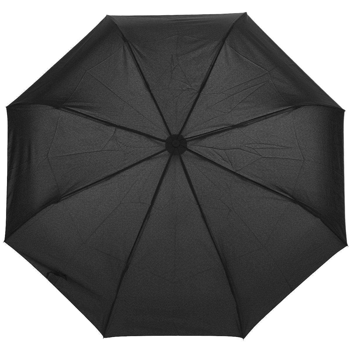 """Зонт мужской Airton, полуавтомат, 3 сложения, цвет: черный. 36403640Полуавтоматический зонт Airton в 3 сложения даже в ненастную погоду позволит вам оставаться стильным. Детали каркаса изготовлены из высокопрочных материалов, специальная система """"Windproof"""" защищает его от поломок. Зонт оснащен 8 спицами, выполненными из металла. Ручка закругленной формы, выполненная из пластика, разработана с учетом требований эргономики. Используемые высококачественные красители, а также покрытие """"Teflon"""" обеспечивают длительное сохранение свойств ткани купола зонта. Купол выполнен из полиэстера черного цвета. Зонт имеет полуавтоматический механизм сложения: купол открывается нажатием кнопки на рукоятке; складывается зонт вручную до характерного щелчка. К зонту прилагается чехол."""