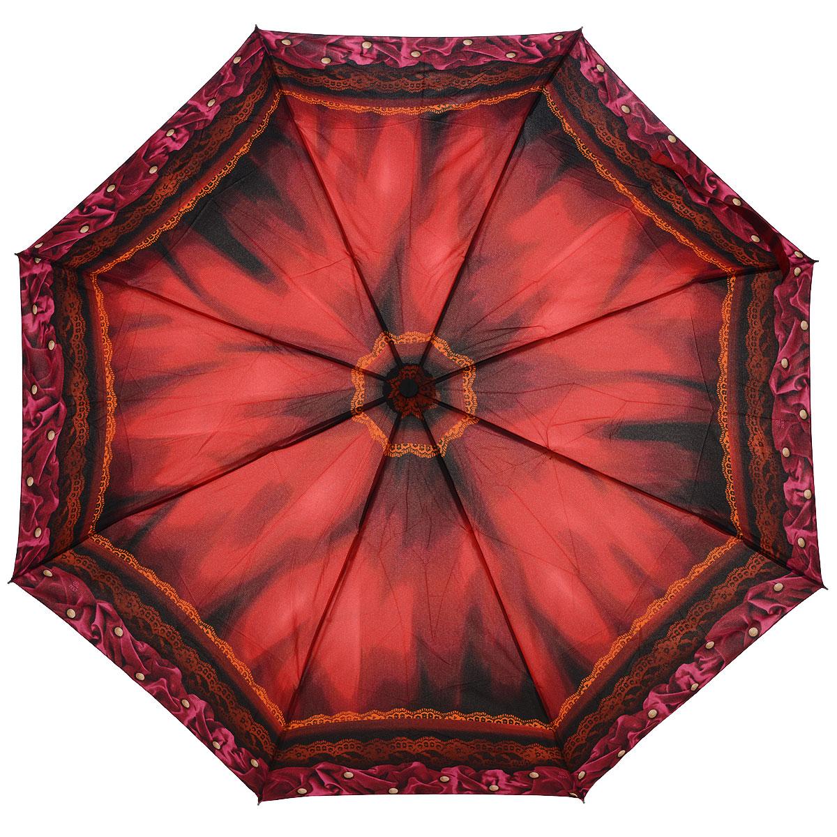 """Зонт женский Airton, автомат, 3 сложения, цвет: бордовый. 39155-2039155-20Автоматический зонт Airton в 3 сложения даже в ненастную погоду позволит вам оставаться стильной и элегантной. Детали каркаса изготовлены из высокопрочных материалов, специальная система """"Windproof"""" защищает его от поломок. Ручка разработана с учетом требований эргономики. Используемые высококачественные красители, а также покрытие """"Teflon"""" обеспечивают длительное сохранение свойств ткани купола зонта. Зонт имеет полный автоматический механизм сложения: купол открывается и закрывается нажатием кнопки на рукоятке, стержень складывается вручную до характерного щелчка. На рукоятке для удобства есть небольшой шнурок, позволяющий надеть зонт на руку тогда, когда это будет необходимо. К зонту прилагается чехол."""
