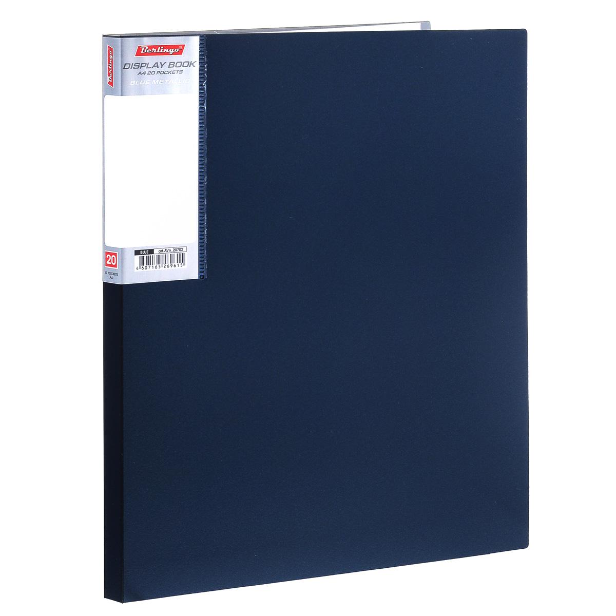 Папка Berlingo Metallic, на 20 файлов, цвет: темно-синий. Формат А4AVn_20702Папка Berlingo Metallic - это удобный и функциональный офисный инструмент, предназначенный для хранения и транспортировки рабочих бумаг и документов формата А4. Обложка папки изготовлена из прочного непрозрачного пластика с оформлением под металлик. Папка включает в себя 20 прозрачных файлов формата А4. Папка - это незаменимый атрибут для студента, школьника, офисного работника. Такая папка надежно сохранит ваши документы и сбережет их от повреждений, пыли и влаги.