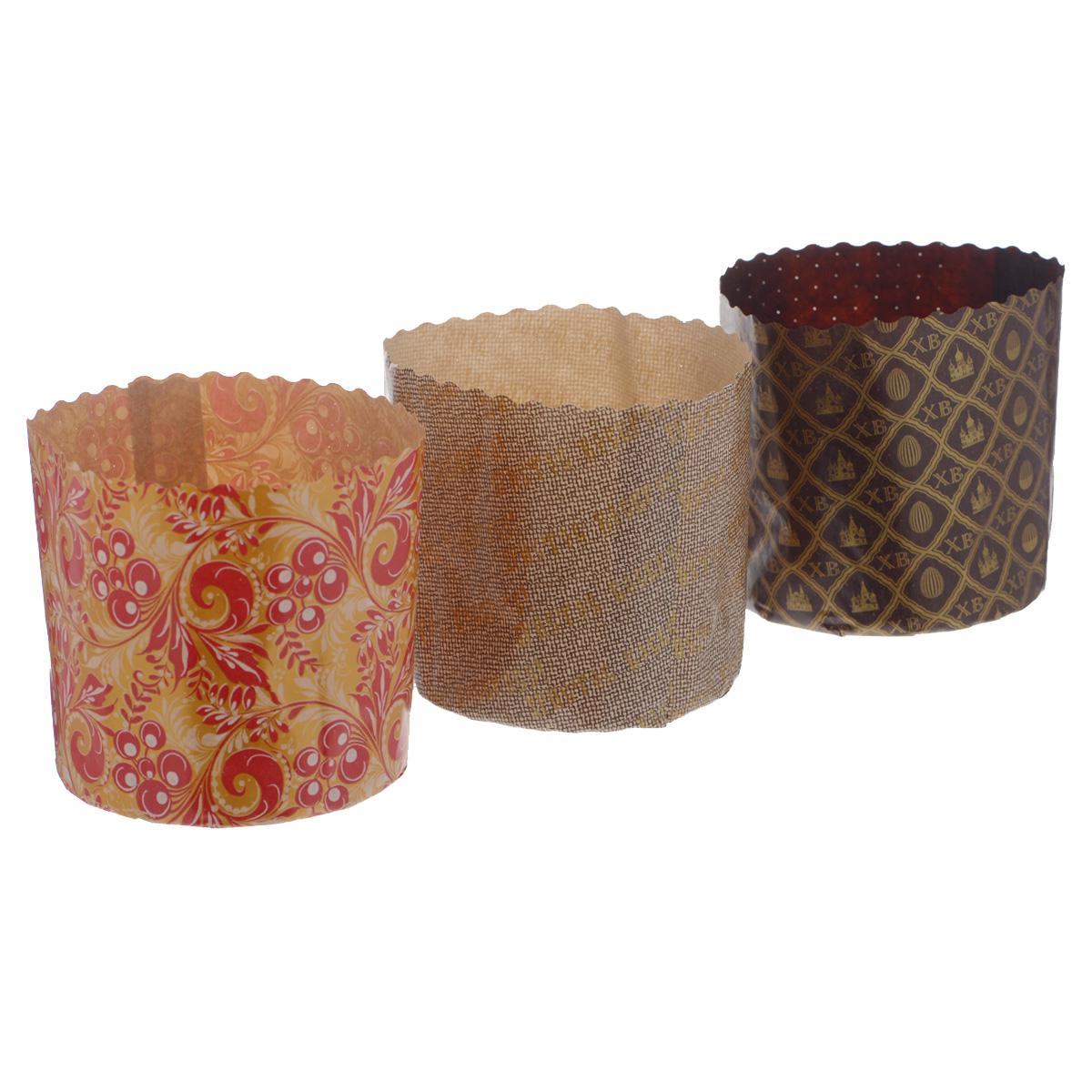Набор форм для выпечки куличей Marmiton Пасхальный, 0,5 л, 3 шт11350Формы Marmiton изготовлены из пищевого пергамента и используются для выпечки куличей при температуре до 220°С, не требуют смазки. Изделия декорированы яркими орнаментами. В наборе - 3 формы.