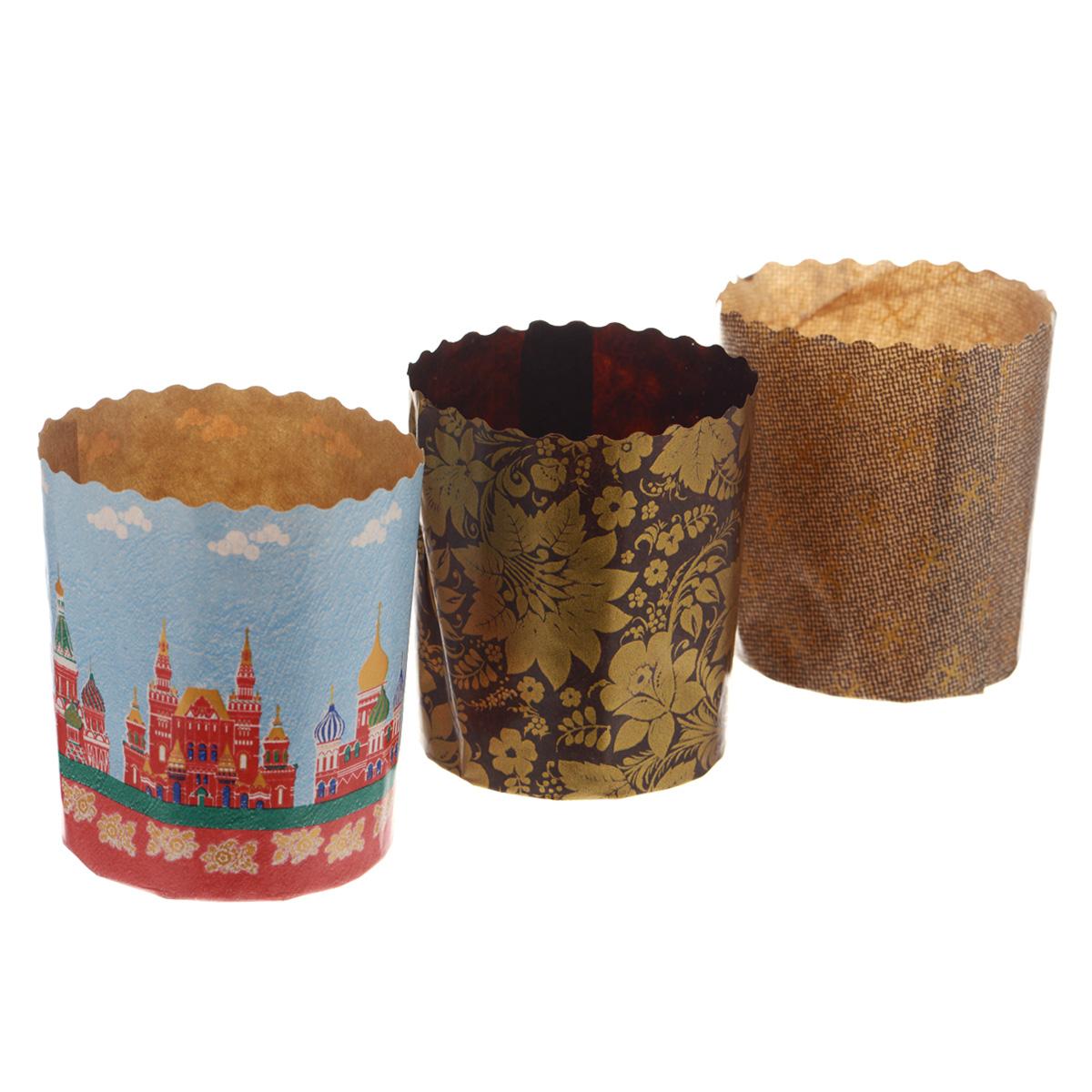 Набор форм для выпечки куличей Marmiton Пасхальный, 3 шт11367Формы Marmiton изготовлены из пищевого пергамента и используются для выпечки куличей при температуре до 220°С, не требуют смазки. Изделия декорированы яркими орнаментами. В наборе - 3 формы.