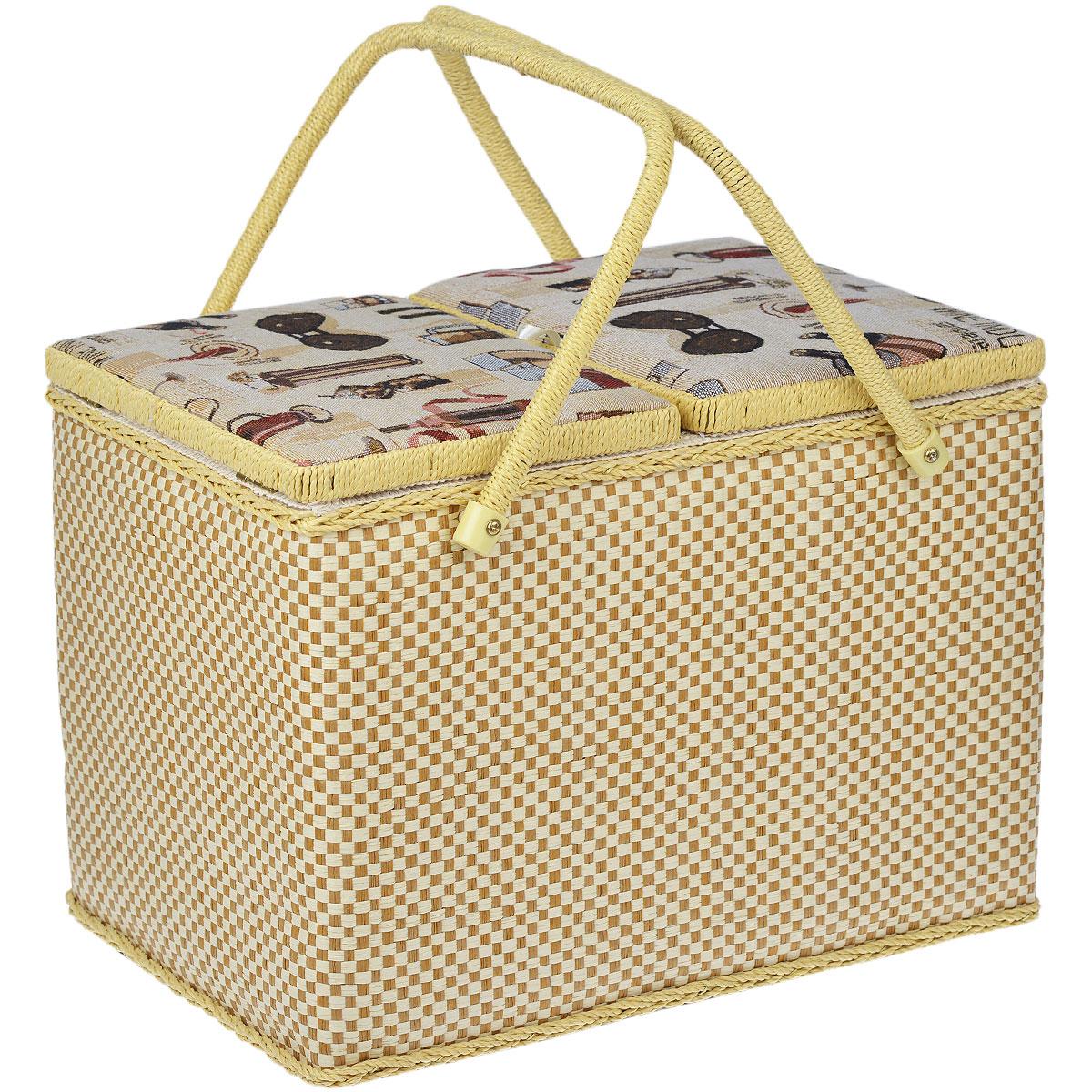 Шкатулка для рукоделия Винная лавкаNF-13101Набор состоит из двух прямоугольных шкатулок для рукоделия. Изделия обтянуты текстилем с красивой цветочной вышивкой. Шкатулки закрываются хлястиком на липучку. Внутри большой шкатулки содержится кармашек на резинке, подушечка для иголок и булавок, а также съемный пластиковый лоток с 8 ячейками разного размера. Изделия оснащены удобными плетеными ручками. Изящные шкатулки с ярким дизайном предназначены для хранения мелочей, принадлежностей для шитья и творчества и других аксессуаров. Они красиво оформят интерьер комнаты и помогут хранить ваши вещи в порядке. Прекрасный подарок для рукодельницы.